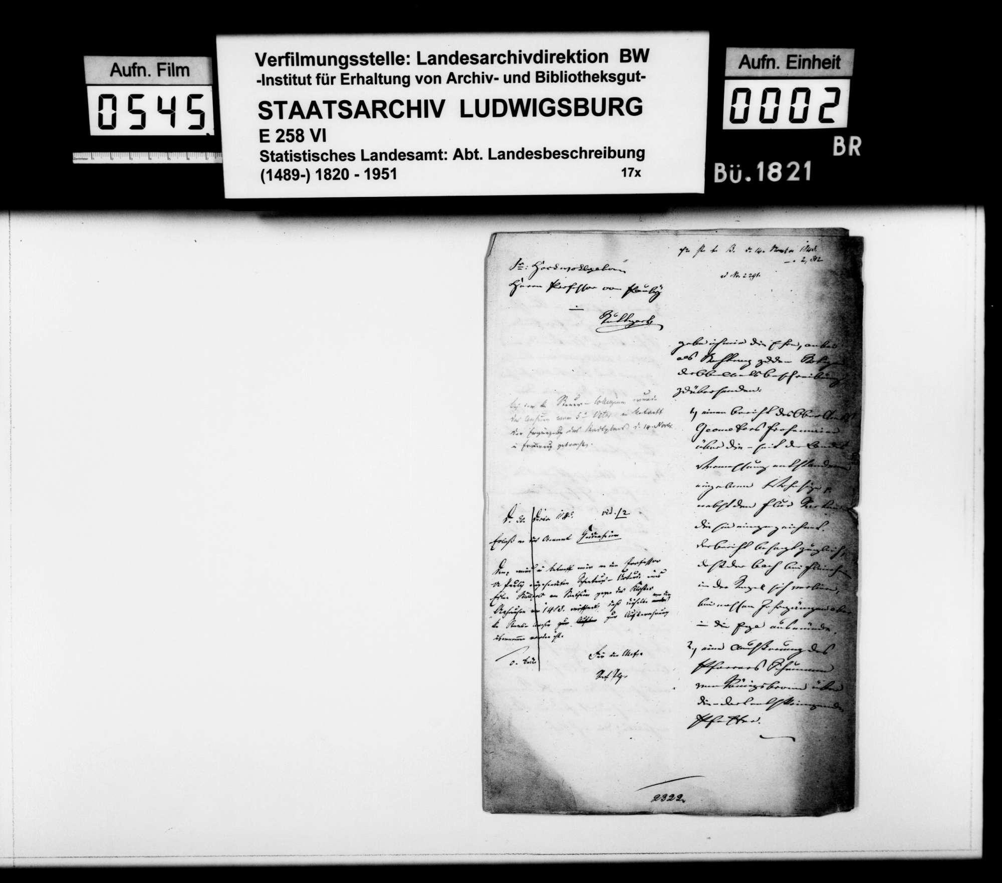 Abhandlung des Pfarrers Schumann aus Königsbronn über den Ursprung des Flüßchens Pfeffer, Bild 1