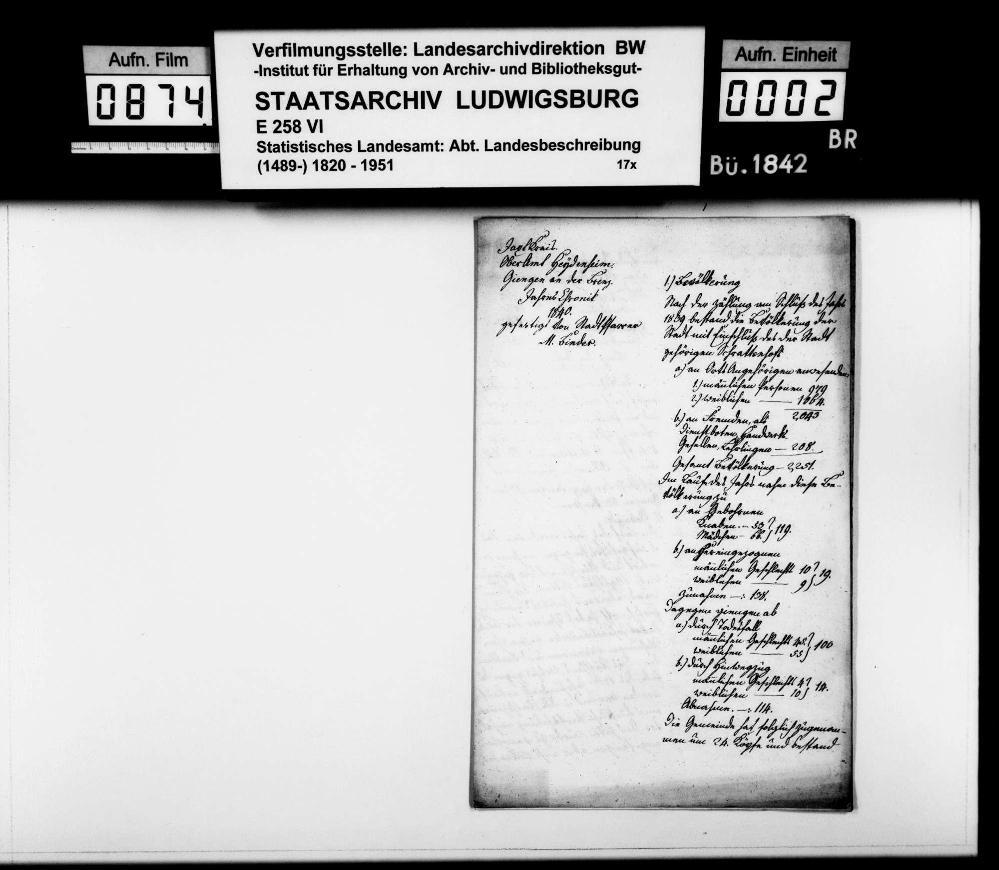 Jahreschronik der Stadt Giengen 1840, von Pfarrer Binder, Bild 1