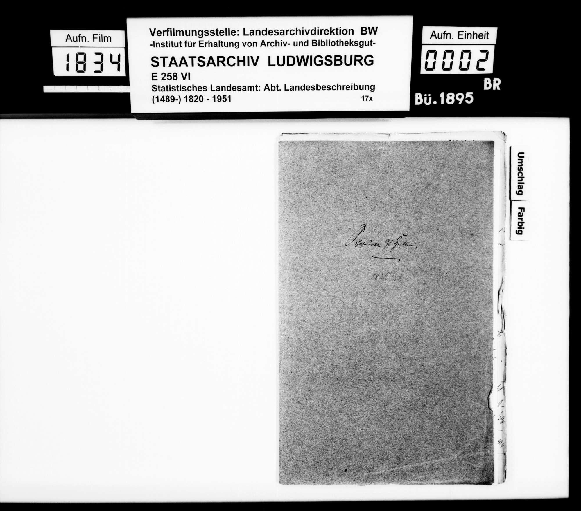 Berichte des Schultheißen Titot aus Heilbronn über Umsätze und Preise der Heilbronner Schafmärkte 1836, 1837, 1841 und 1842, Bild 1