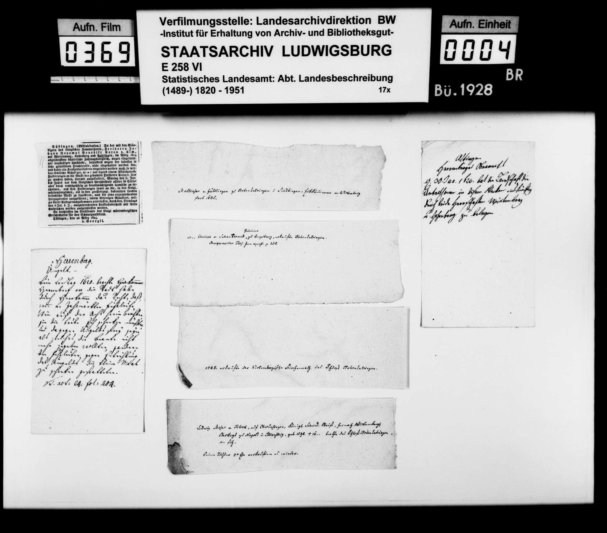 Verschiedene Belege zur Geschichte im Oberamtsbezirk, Bild 3