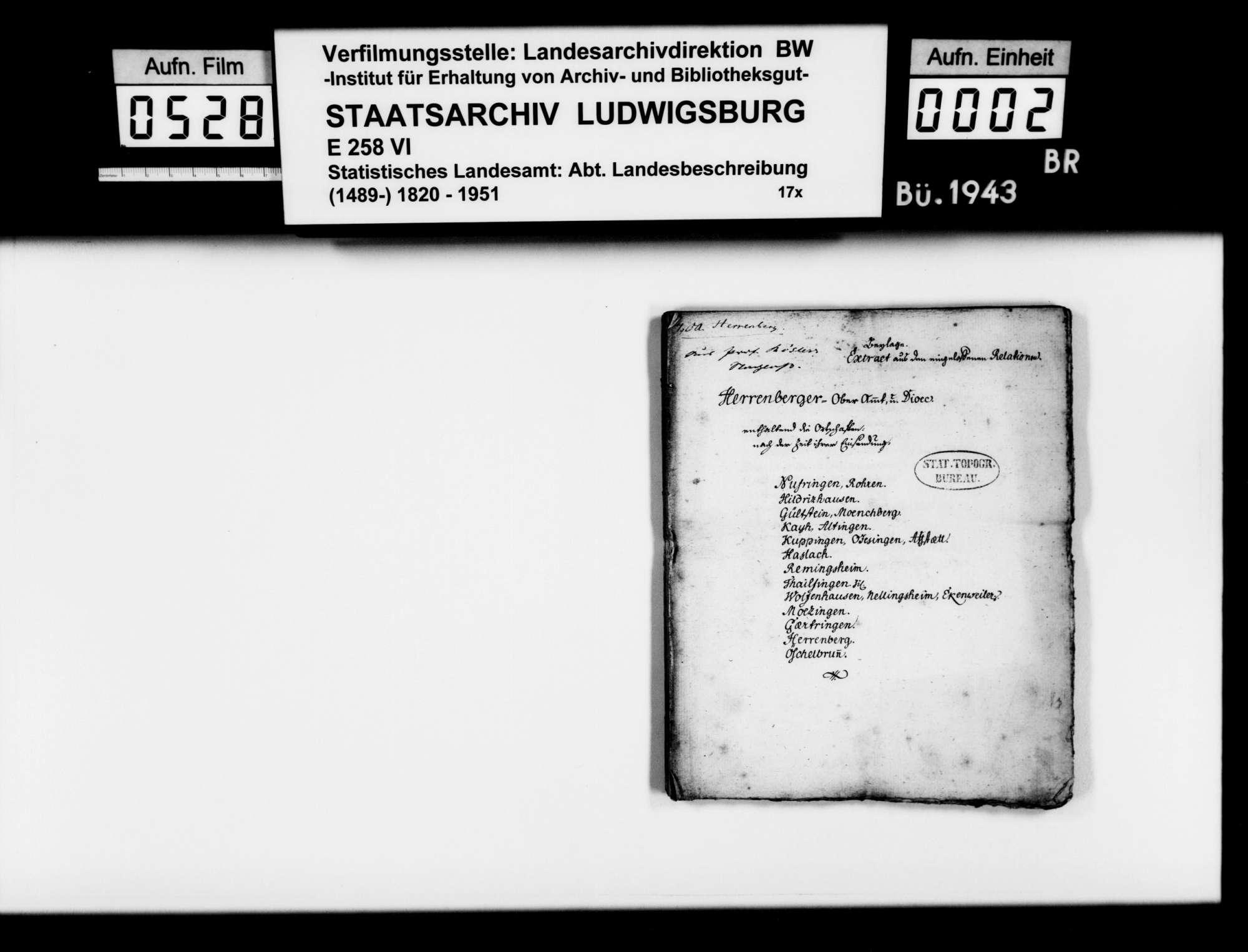 Forschungen des Stuttgarter Gymnasialprofessors Gottlieb Friedrich Rösler zur Naturgeschichte des (alten) Oberamts Herrenberg:, Bild 1