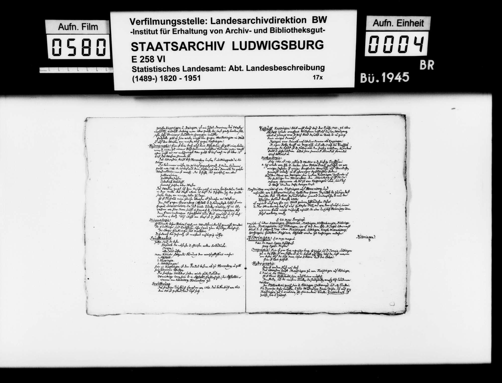Forschungen des Stuttgarter Gymnasialprofessors Gottlieb Friedrich Rösler zur Naturgeschichte des (alten) Oberamts Herrenberg: Aufsatzmanuskripte