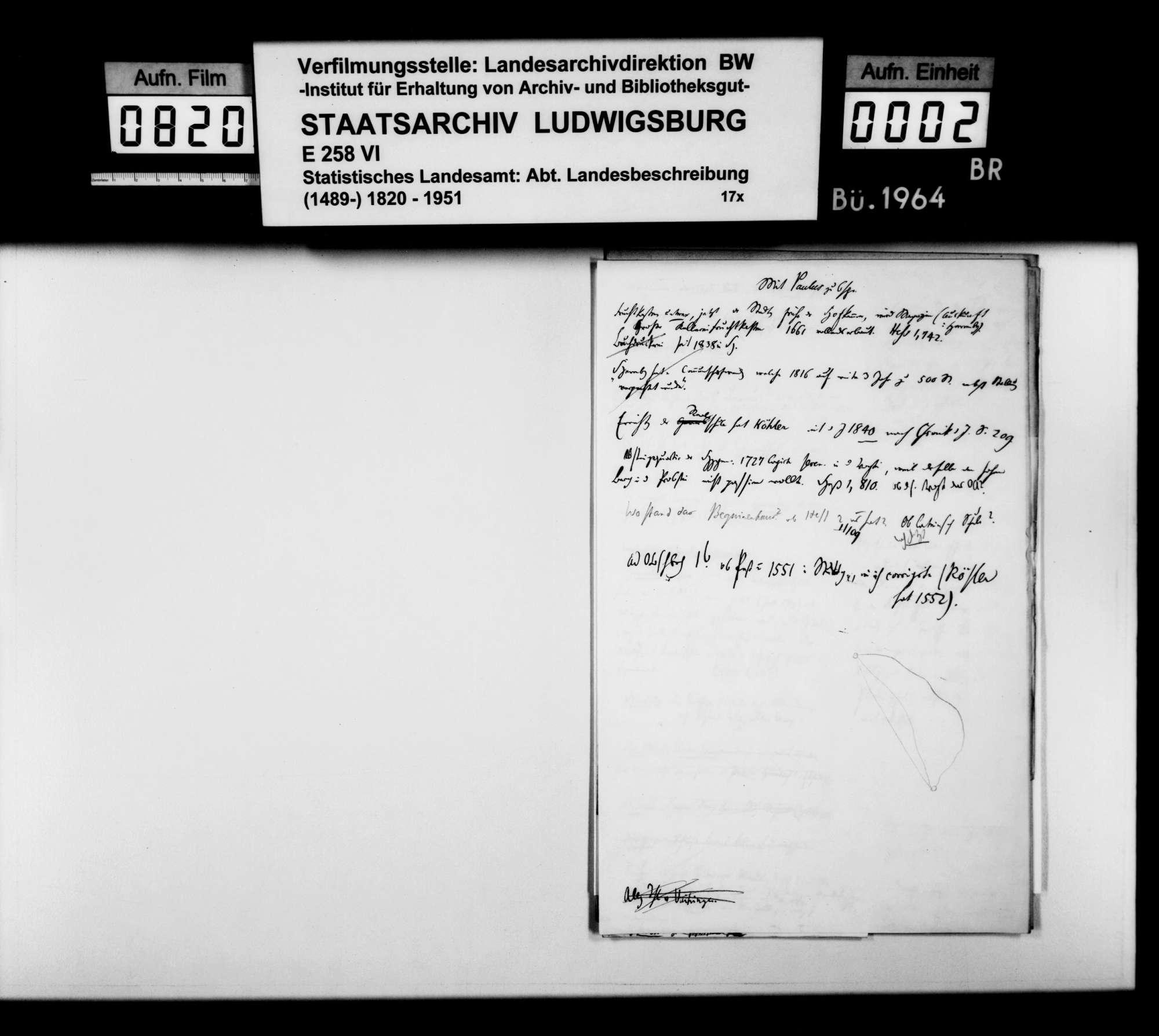 Notizen [des Finanzassessors Paulus und des Oberstudienrats Christoph Friedrich Stälin] zu Stoff und Arbeitsweise der OAB, Bild 1