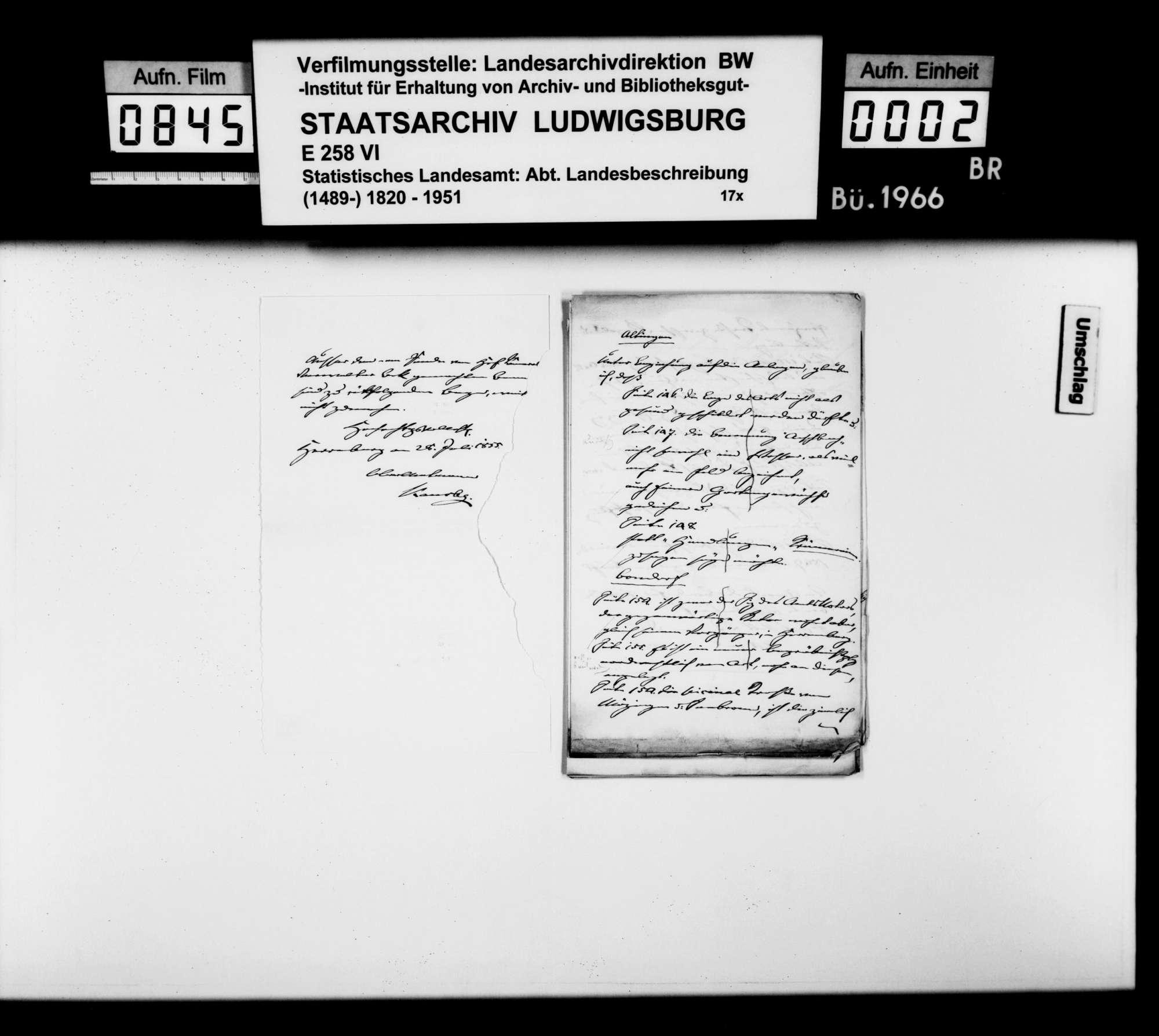 Korrekturen und Ergänzungen zum Manuskript der OAB durch Oberamtmann Kausler sowie verschiedene Auskünfte zu offenen Fragen der Ortsbeschreibung, Bild 1