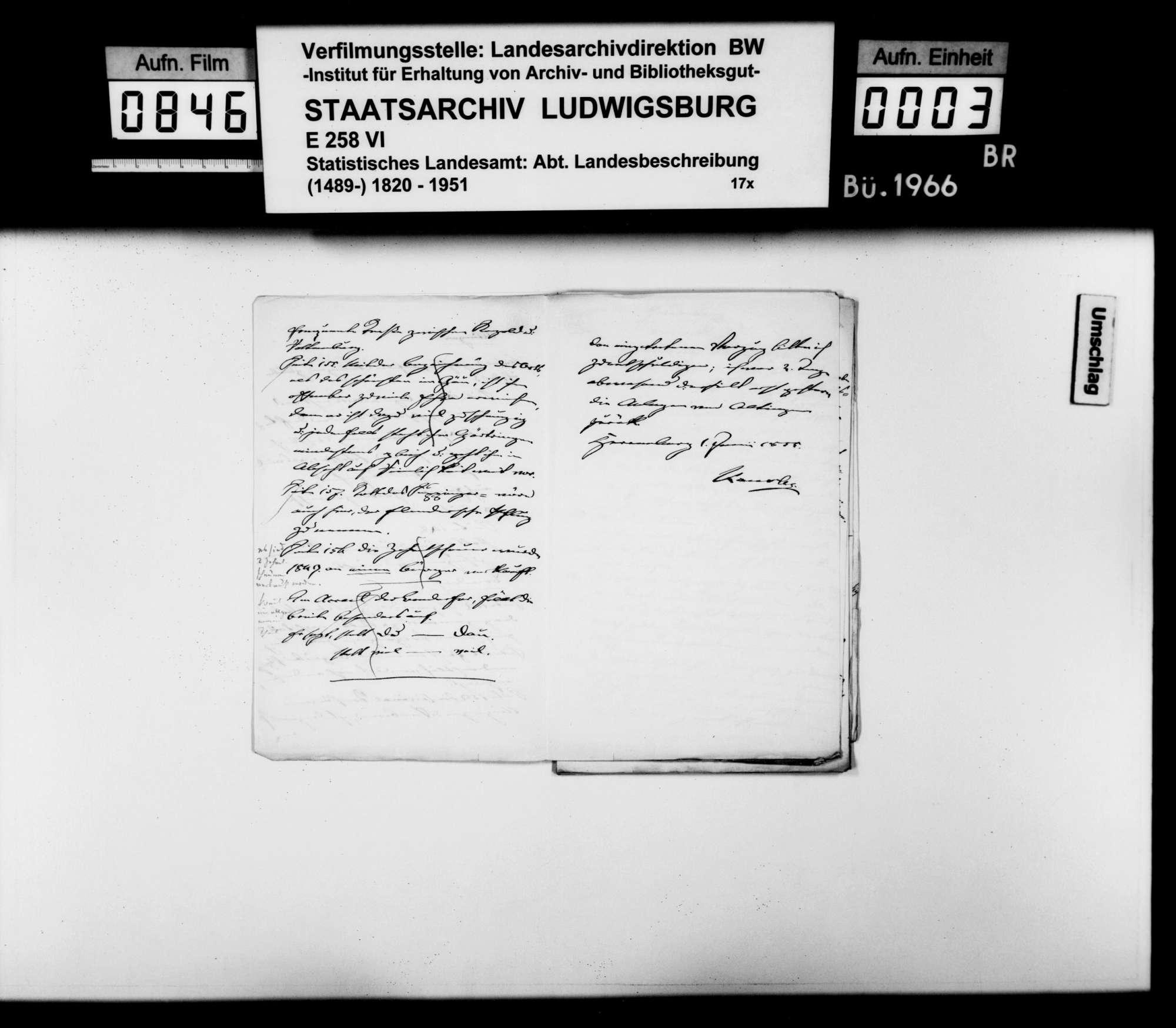 Korrekturen und Ergänzungen zum Manuskript der OAB durch Oberamtmann Kausler sowie verschiedene Auskünfte zu offenen Fragen der Ortsbeschreibung, Bild 2