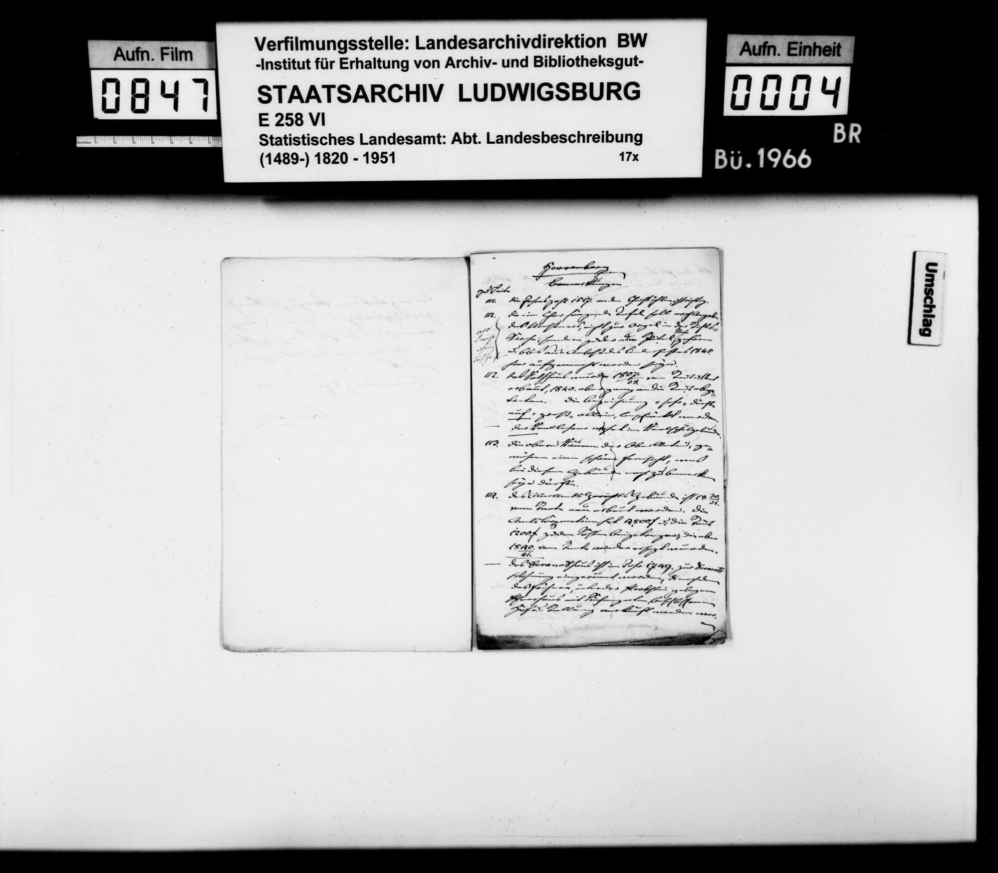 Korrekturen und Ergänzungen zum Manuskript der OAB durch Oberamtmann Kausler sowie verschiedene Auskünfte zu offenen Fragen der Ortsbeschreibung, Bild 3