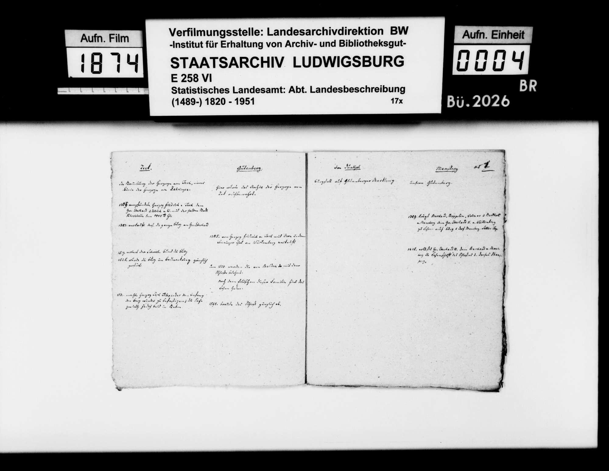 Kollektaneen des Rechtskonsulenten [Karl] von Alberti v.a. zu den Schlössern, Burgen, Ruinen und den Adelsgeschlechtern im Oberamt, Bild 3