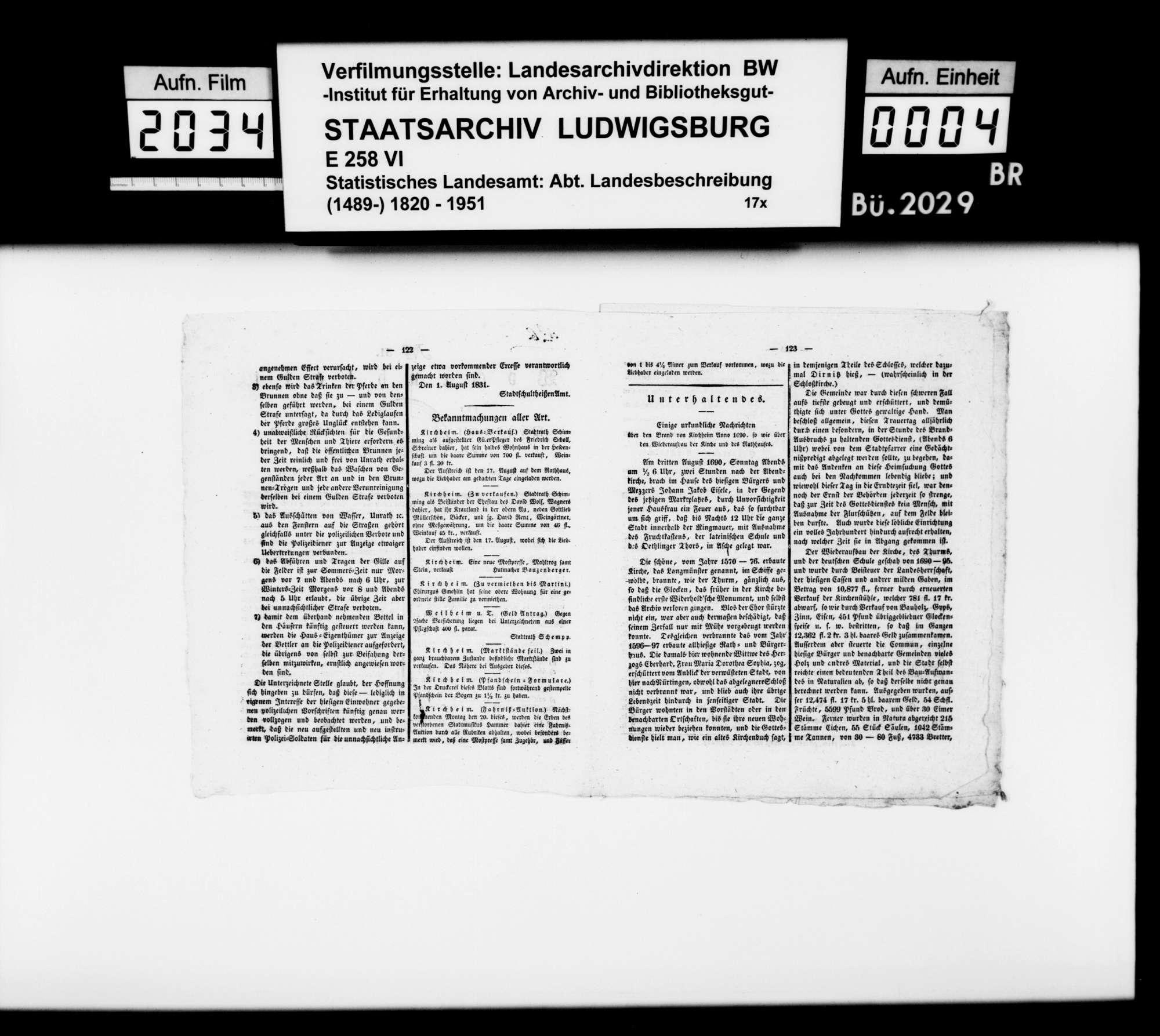 Der Brand von Kirchheim 1690 und der Wiederaufbau der Kirche und des Rathauses, in: Wochenblatt für das Oberamt Kirchheim unter Teck Nr. 31/32 vom 15./22. Aug. 1832, Bild 2