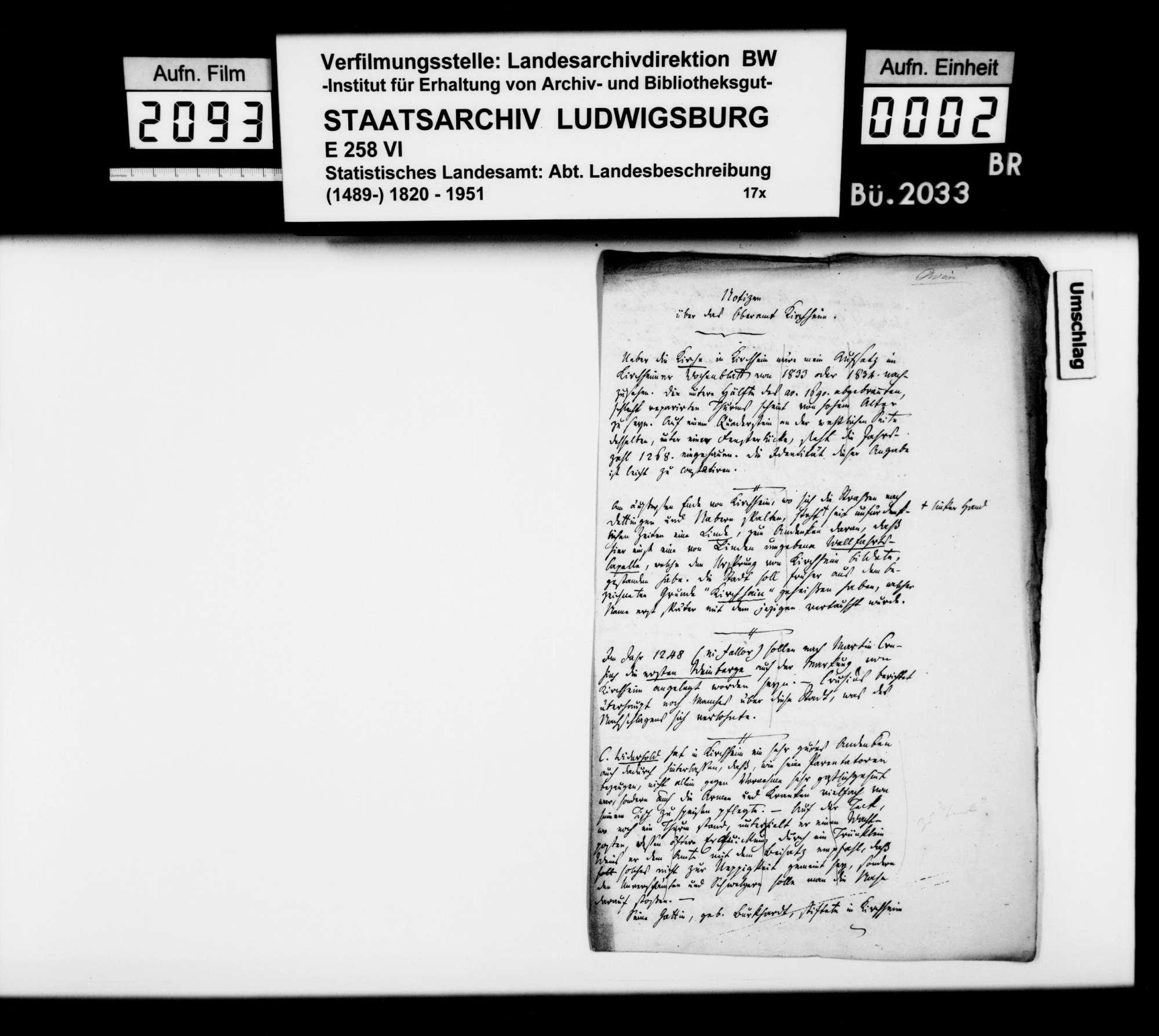 Mitteilungen des Oberhelfers Albert Knapp aus Stuttgart zur Geschichte von Kirchheim und der Teck, Bild 1