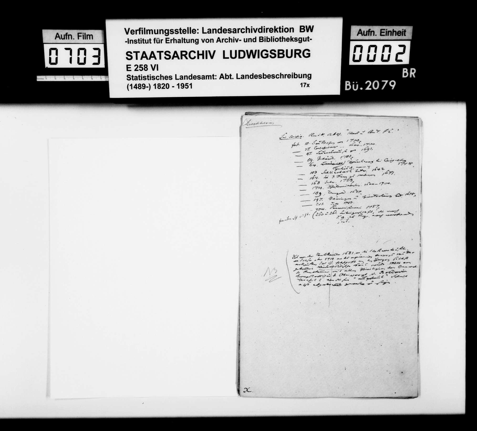 Manuskript und Material [des Finanzassessors Moser] zu Teil A (Allgemeines) der OAB, mit Schwerpunkt auf der Geschichte, Bild 1