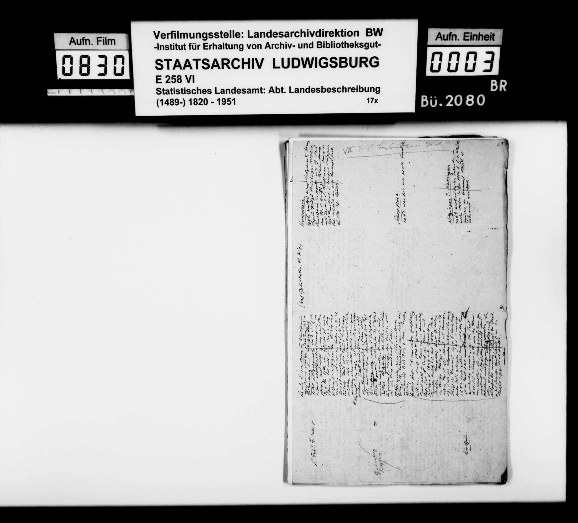 Manuskript und Notizen [des Finanzassessors Moser] zu Teil B (Ortsbeschreibungen) der OAB, Bild 1