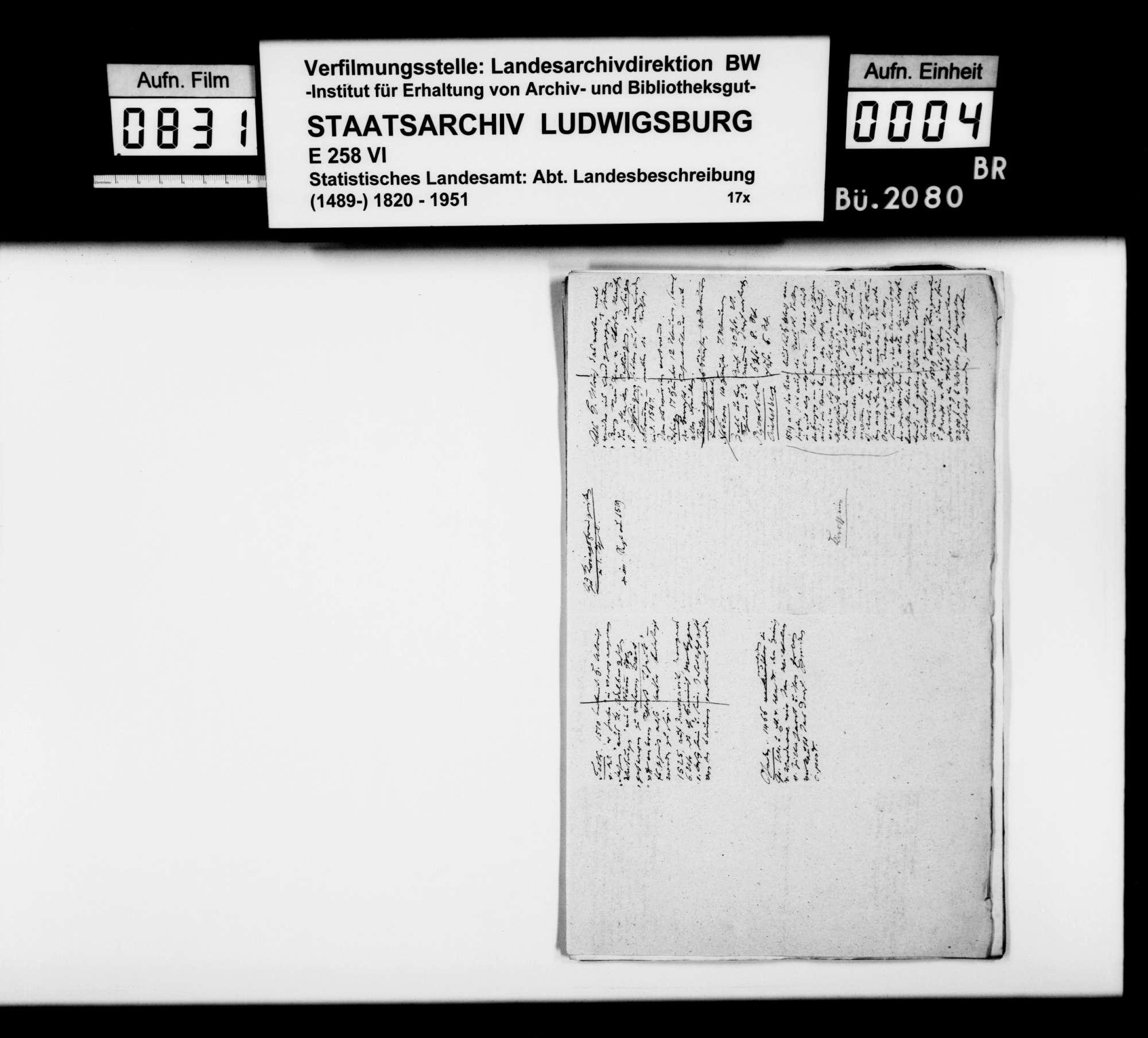 Manuskript und Notizen [des Finanzassessors Moser] zu Teil B (Ortsbeschreibungen) der OAB, Bild 2