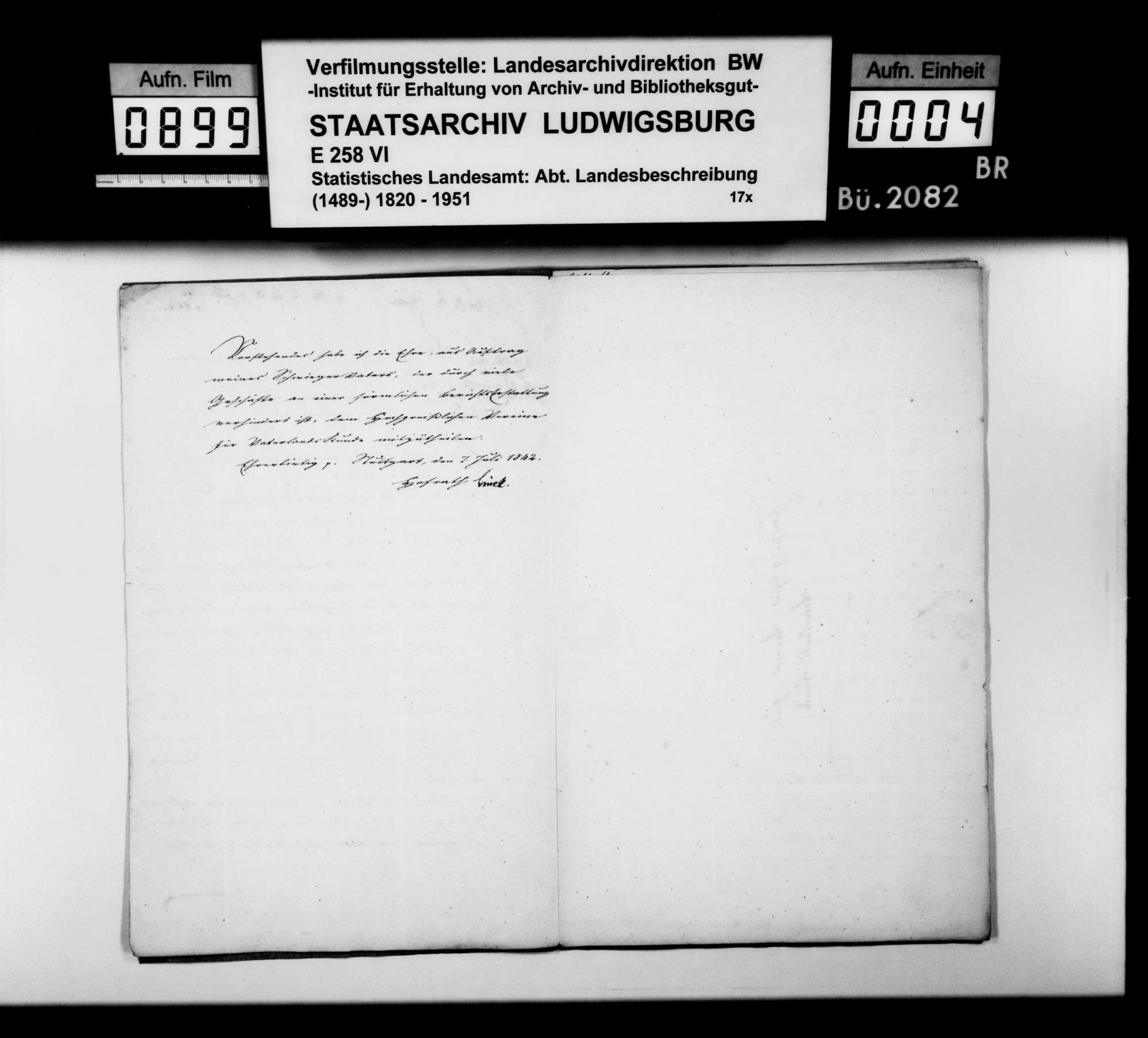 Berichte des Oberamtsarztes Dr. Hauff und des OAmanns von Knapp sowie des OAsarztes Dr. von Hartmann aus Göppingen über einen Erd- oder Schieferbrand zwischen Pliensbach und Boll, Bild 3