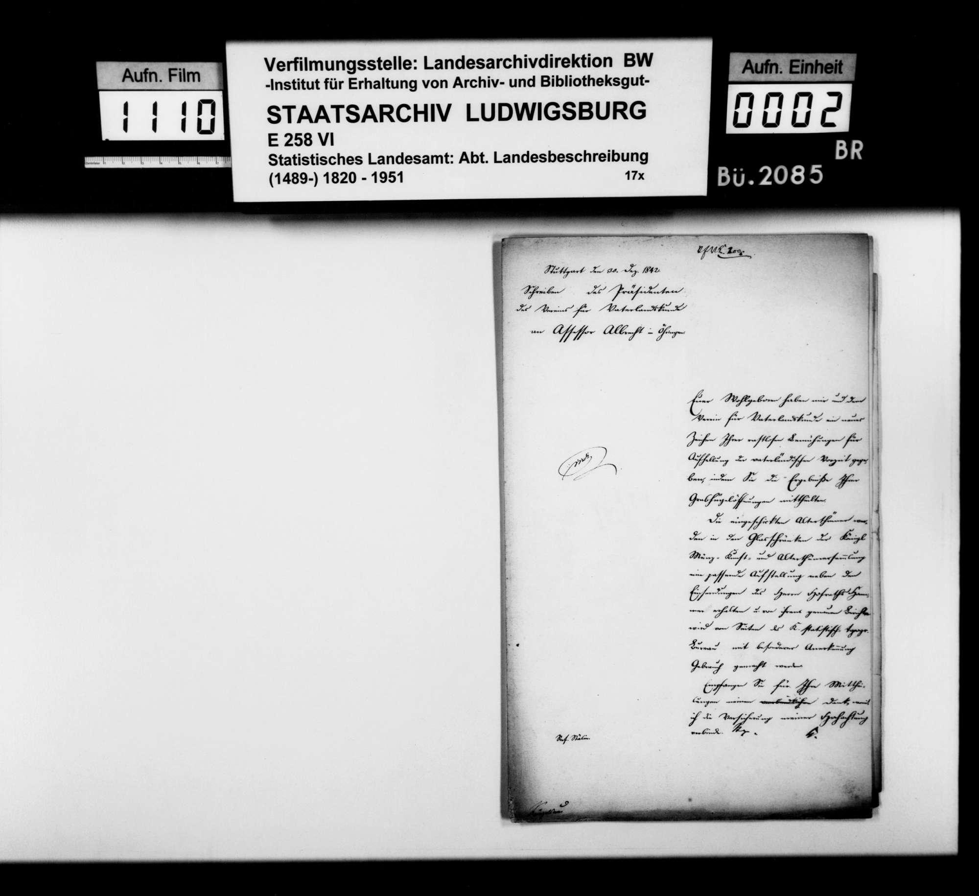 Bericht des Assessors Albrecht aus Öhringen über die Untersuchung von Grabhügeln im Wald Beerberg zwischen Weißbach und Crispenhofen, mit Lageskizze, Bild 1