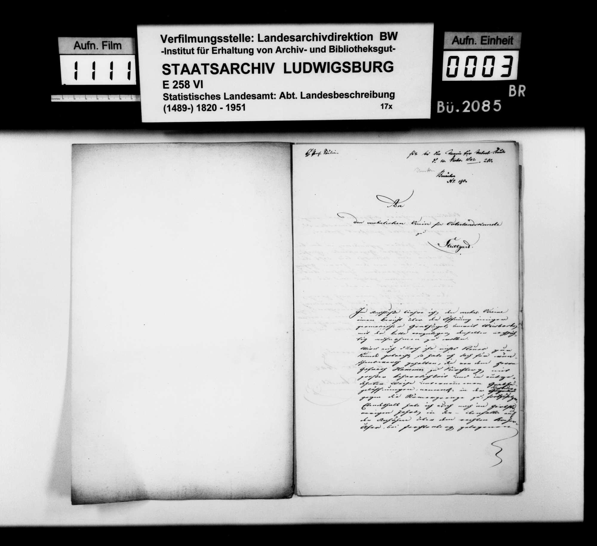 Bericht des Assessors Albrecht aus Öhringen über die Untersuchung von Grabhügeln im Wald Beerberg zwischen Weißbach und Crispenhofen, mit Lageskizze, Bild 2