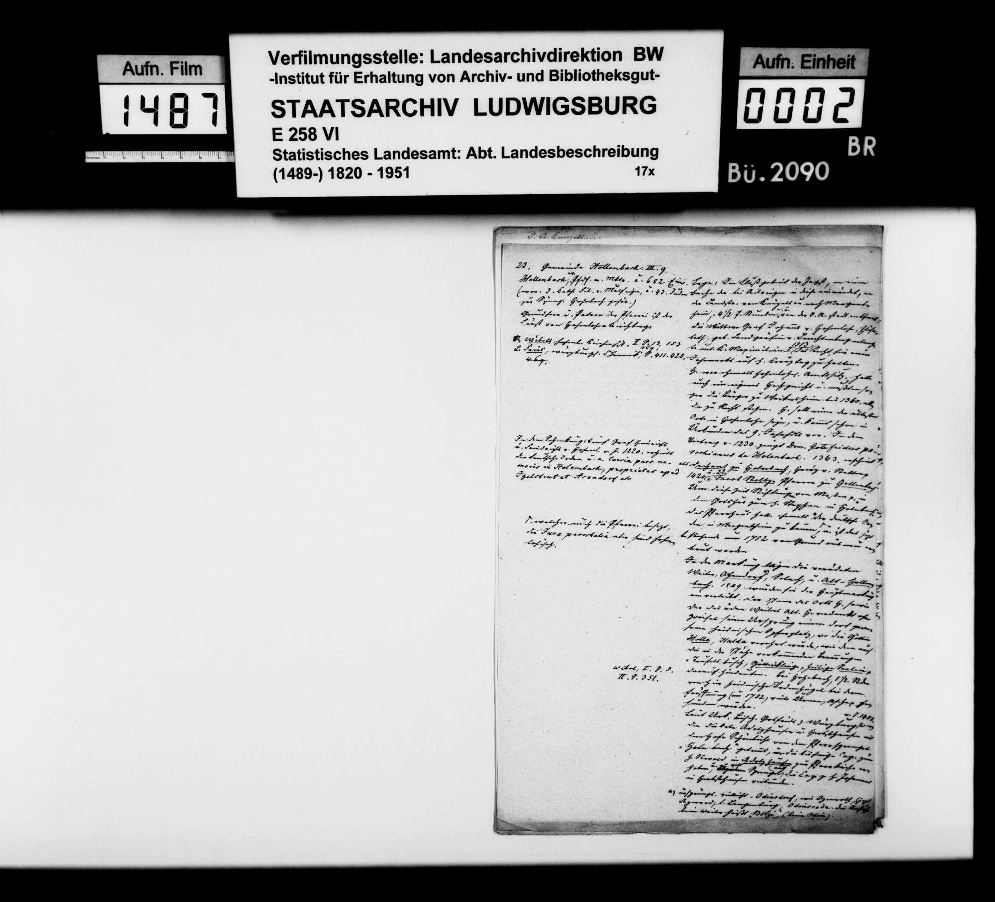 Notizen [des Trigonometers Diezel in der Kanzlei des STBs] zur Beschreibung der Gemeinden Hollenbach, Jagstberg, Ingelfingen und Niedernhall, Bild 1