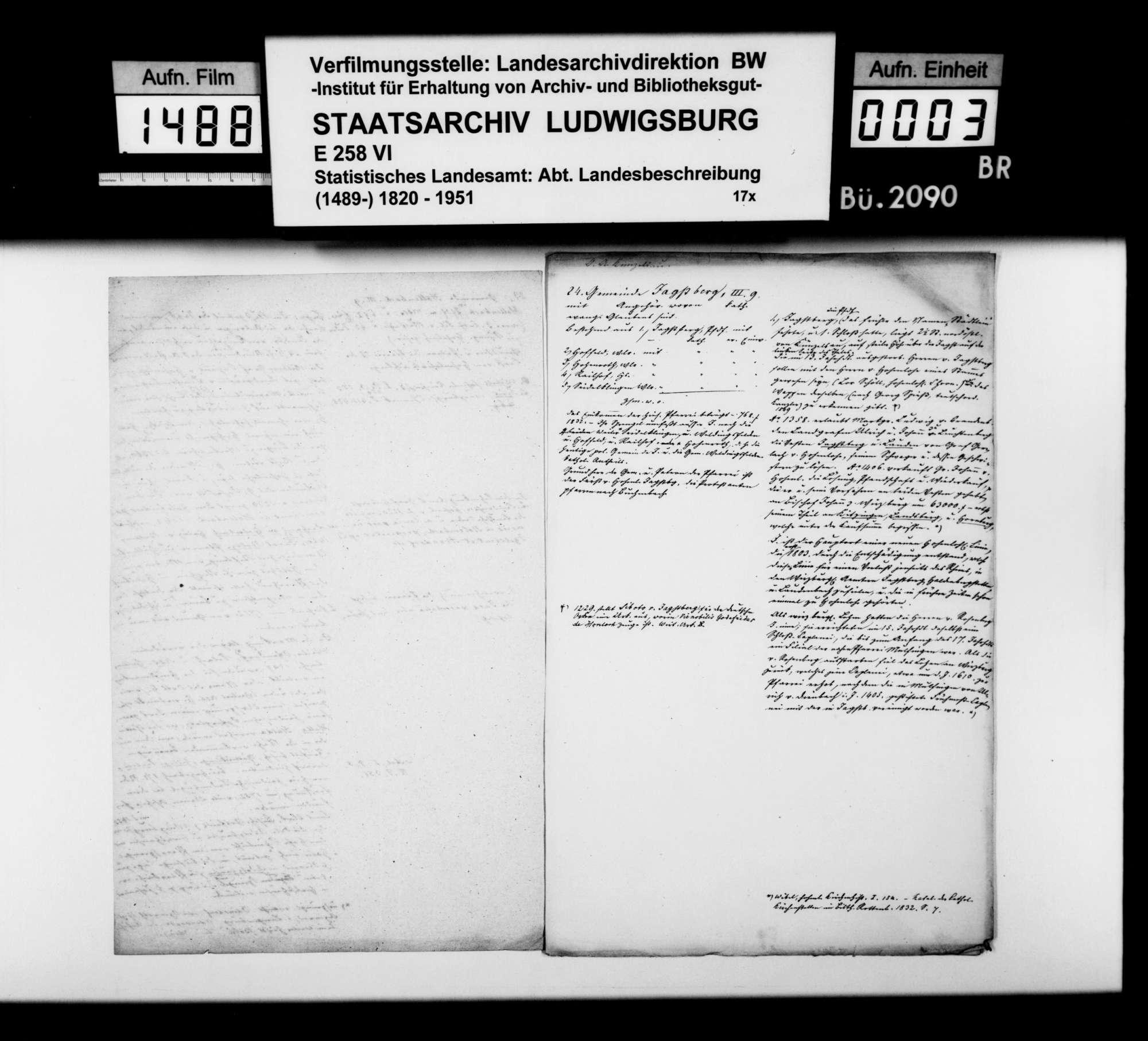 Notizen [des Trigonometers Diezel in der Kanzlei des STBs] zur Beschreibung der Gemeinden Hollenbach, Jagstberg, Ingelfingen und Niedernhall, Bild 2