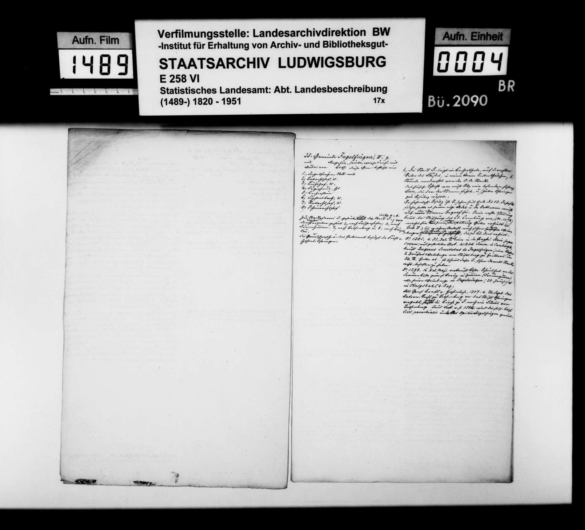 Notizen [des Trigonometers Diezel in der Kanzlei des STBs] zur Beschreibung der Gemeinden Hollenbach, Jagstberg, Ingelfingen und Niedernhall, Bild 3