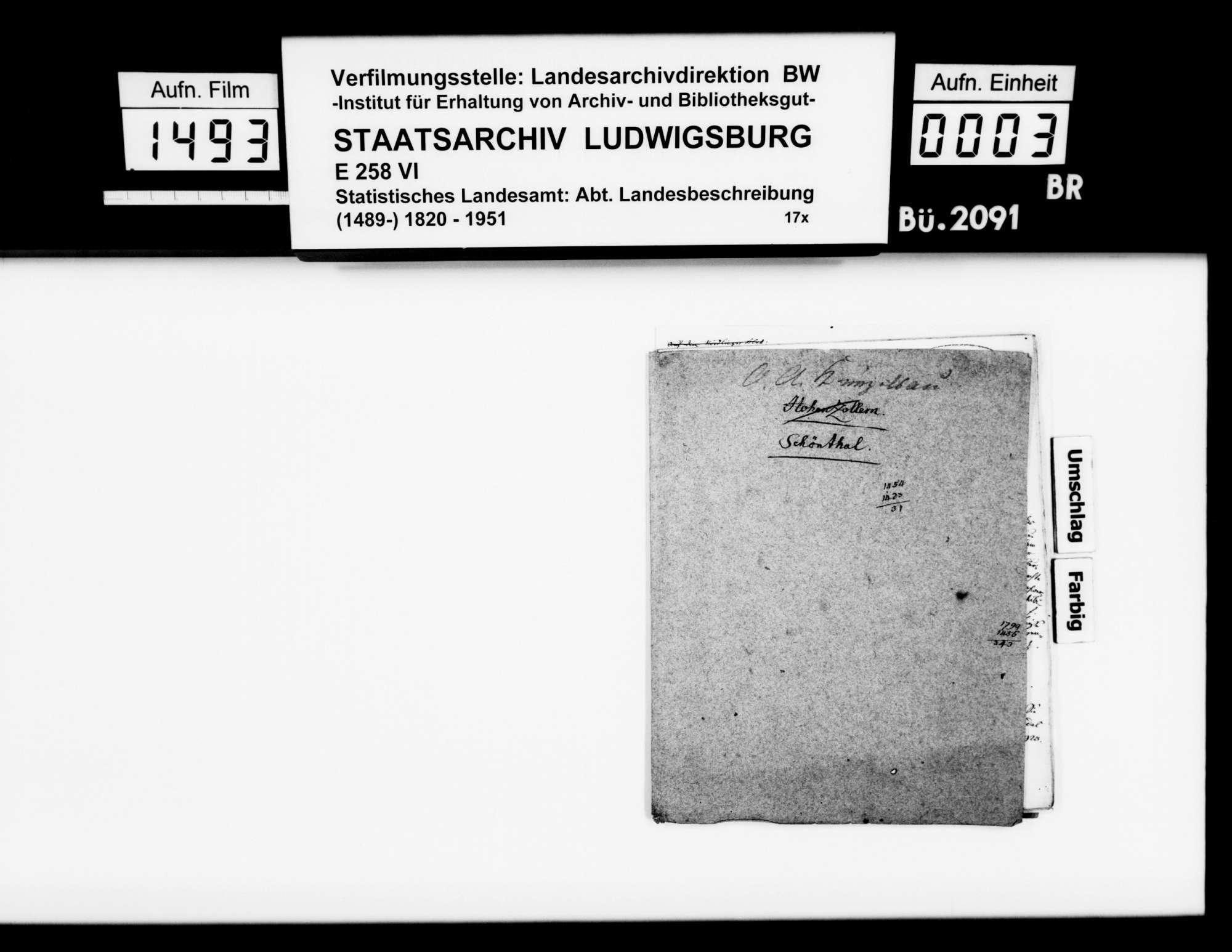 Notizen des Pfarrers Köhler aus Marschalkenzimmern zur Statistik und Geschichte von Kloster, Dorf und Oberamt [1803-1810] Schöntal, Bild 1