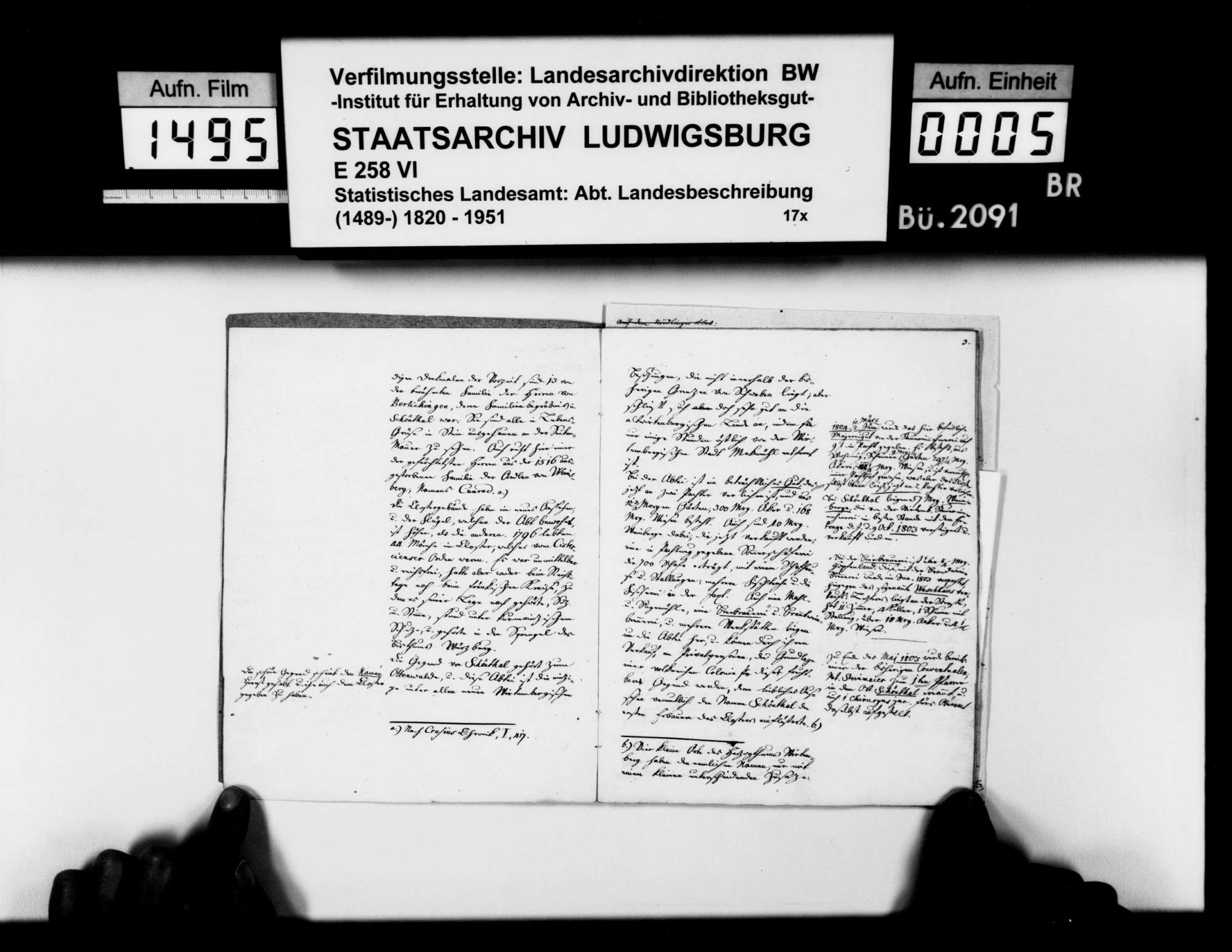 Notizen des Pfarrers Köhler aus Marschalkenzimmern zur Statistik und Geschichte von Kloster, Dorf und Oberamt [1803-1810] Schöntal, Bild 3