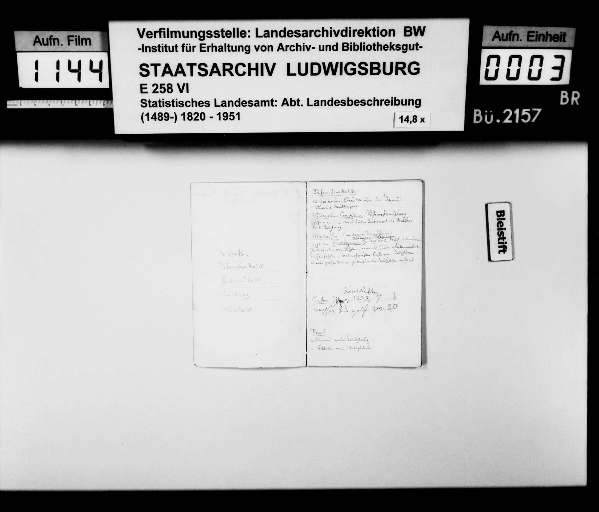 Notizbuch des Katasterkassiers F. Breunlin aus Stuttgart [vgl. Hof- und Staatshandbuch 1831, S. 147: Kanzleiassistent der Oberrechnungskammer B.], Bild 2