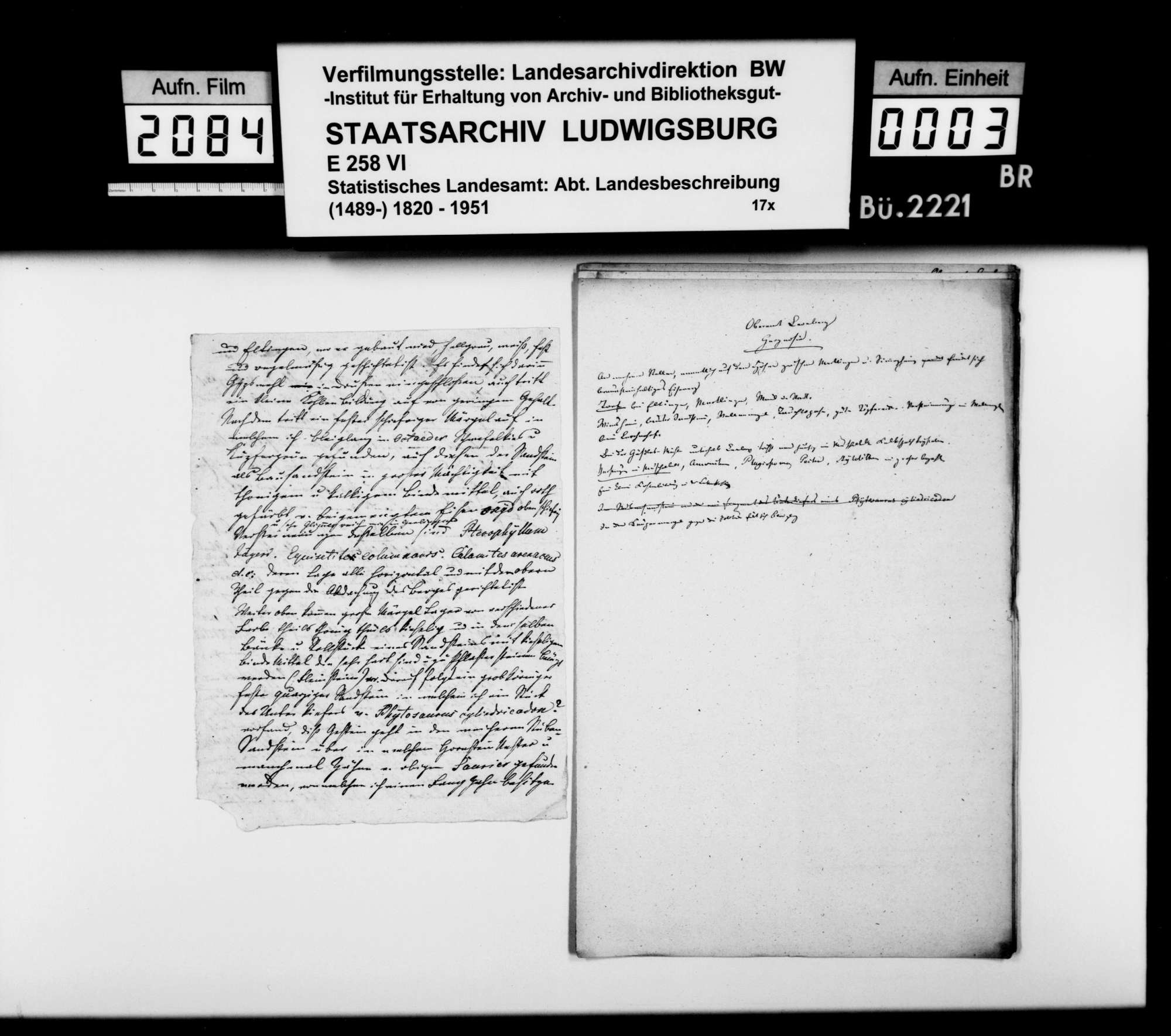 Notizen [v.a. des Topographen Karl Eduard Paulus] zu den natürlichen Verhältnissen im Oberamt, Bild 2