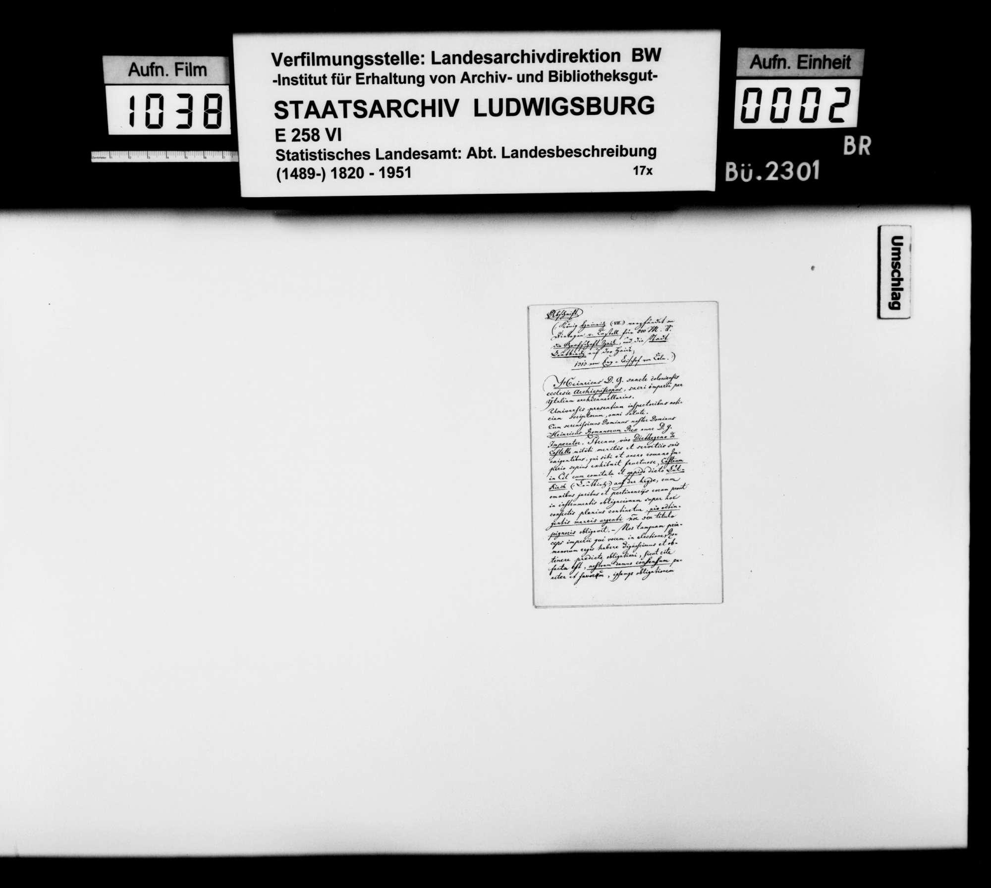 Abschriften zweier Urkunden König Heinrichs VII. für Diethegen von Castell, 1311 Febr. 22 und Aug. 22, betr. Grafschaft Zeil, Ravensburg und Leutkirch, Bild 1