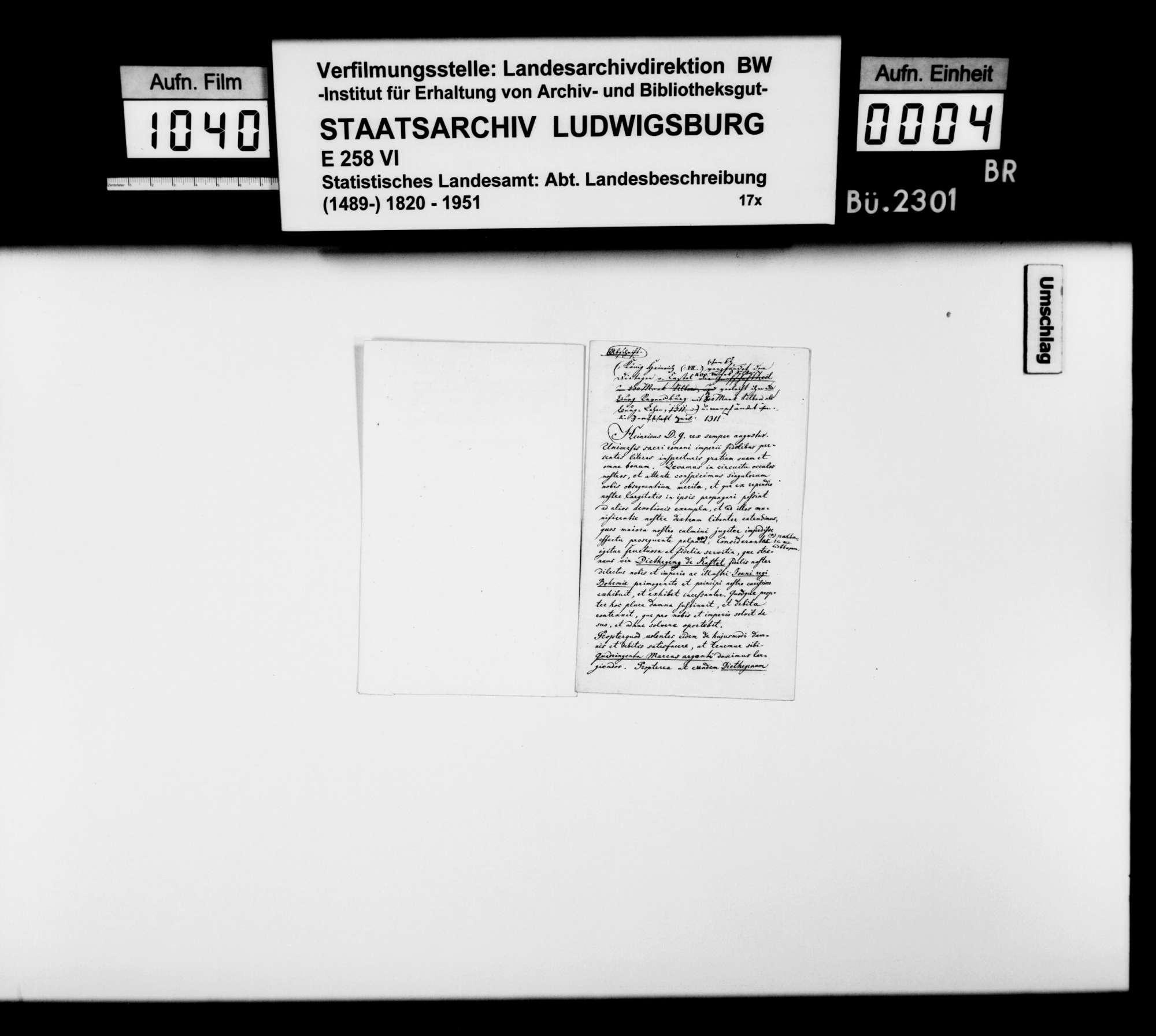Abschriften zweier Urkunden König Heinrichs VII. für Diethegen von Castell, 1311 Febr. 22 und Aug. 22, betr. Grafschaft Zeil, Ravensburg und Leutkirch, Bild 3