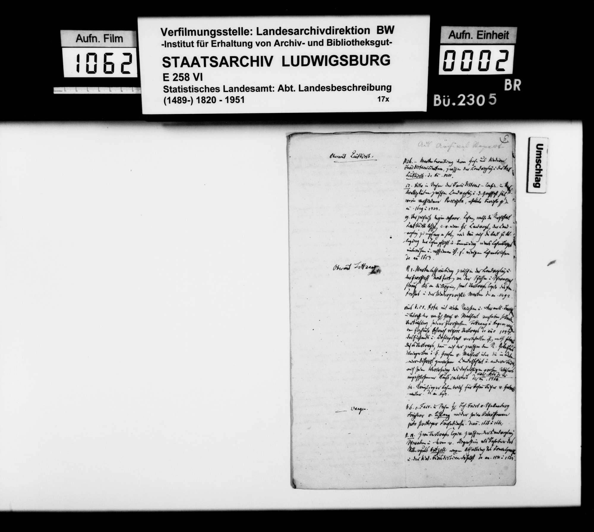 Auszüge aus Archivrepertorien zur Geschichte der Oberämter Leutkirch, Tettnang und Wangen, Bild 1
