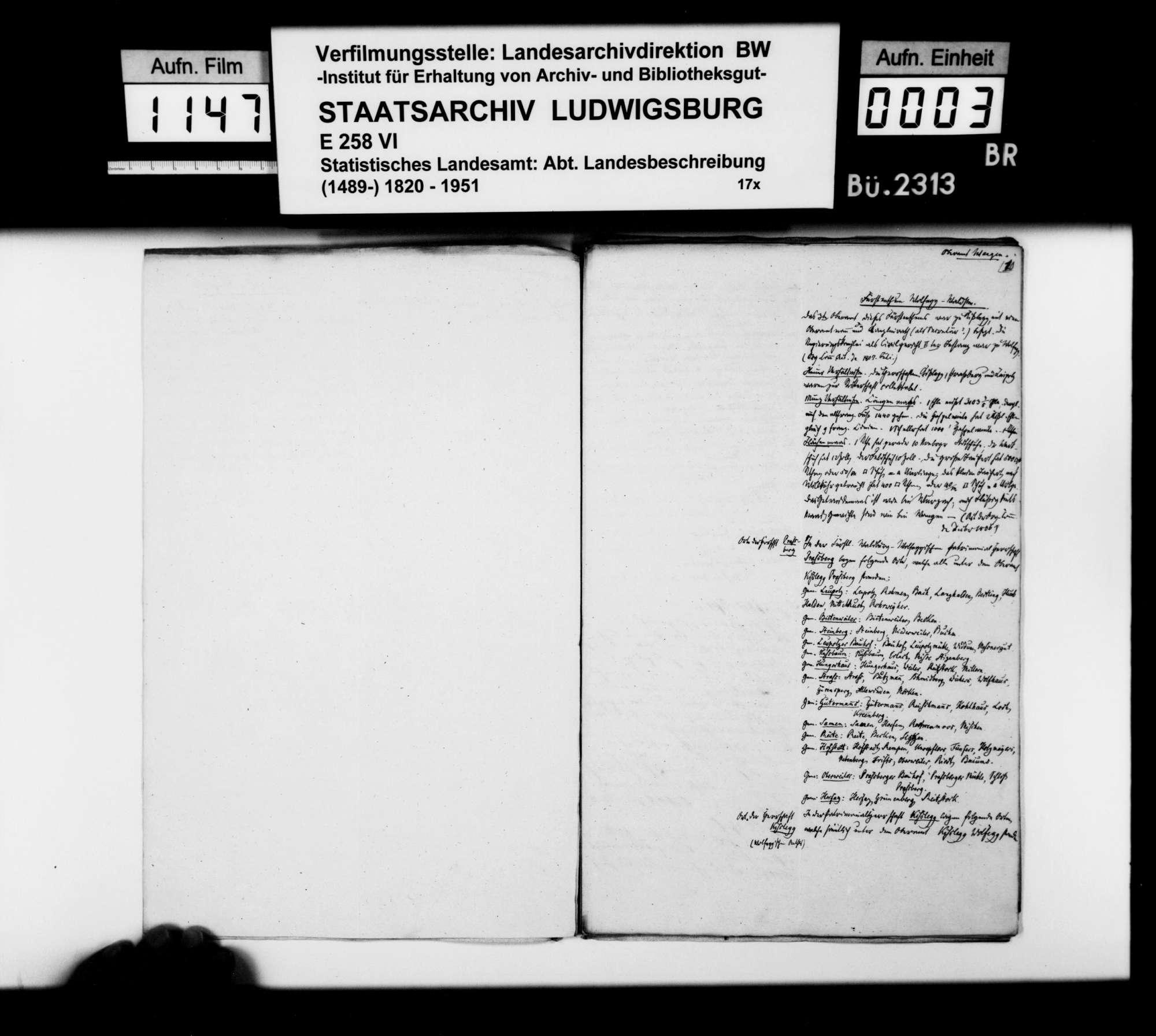 Notizen [der Kanzleiassistenten Heinrich Rigel und Klemm] zu den Bestandteilen des Oberamts, auch der OÄ Tettnang und Wangen, Bild 2