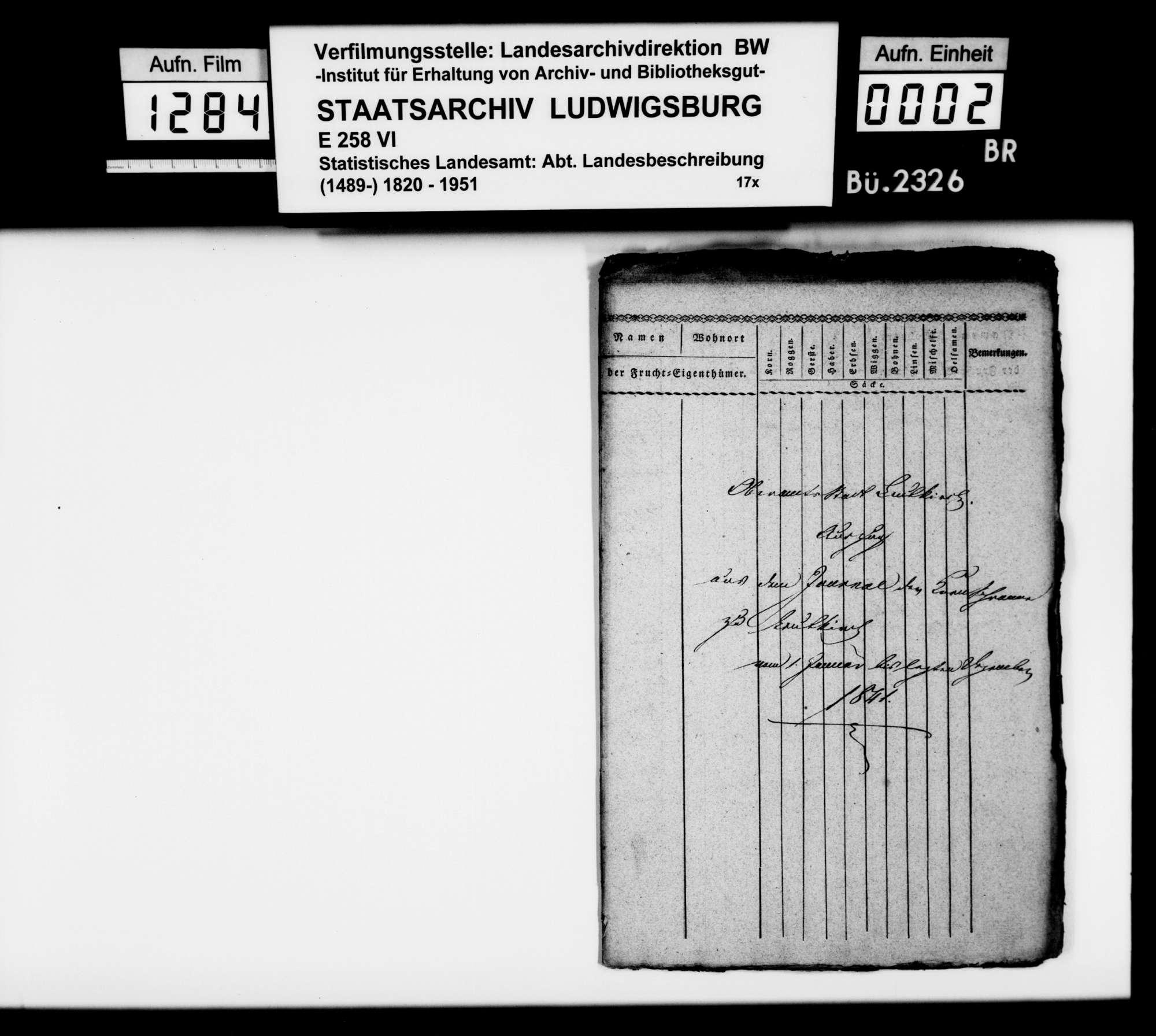 Auszüge aus den Tagebüchern der Fruchtmärkte in Leutkirch, Januar - Dezember 1841, Bild 1