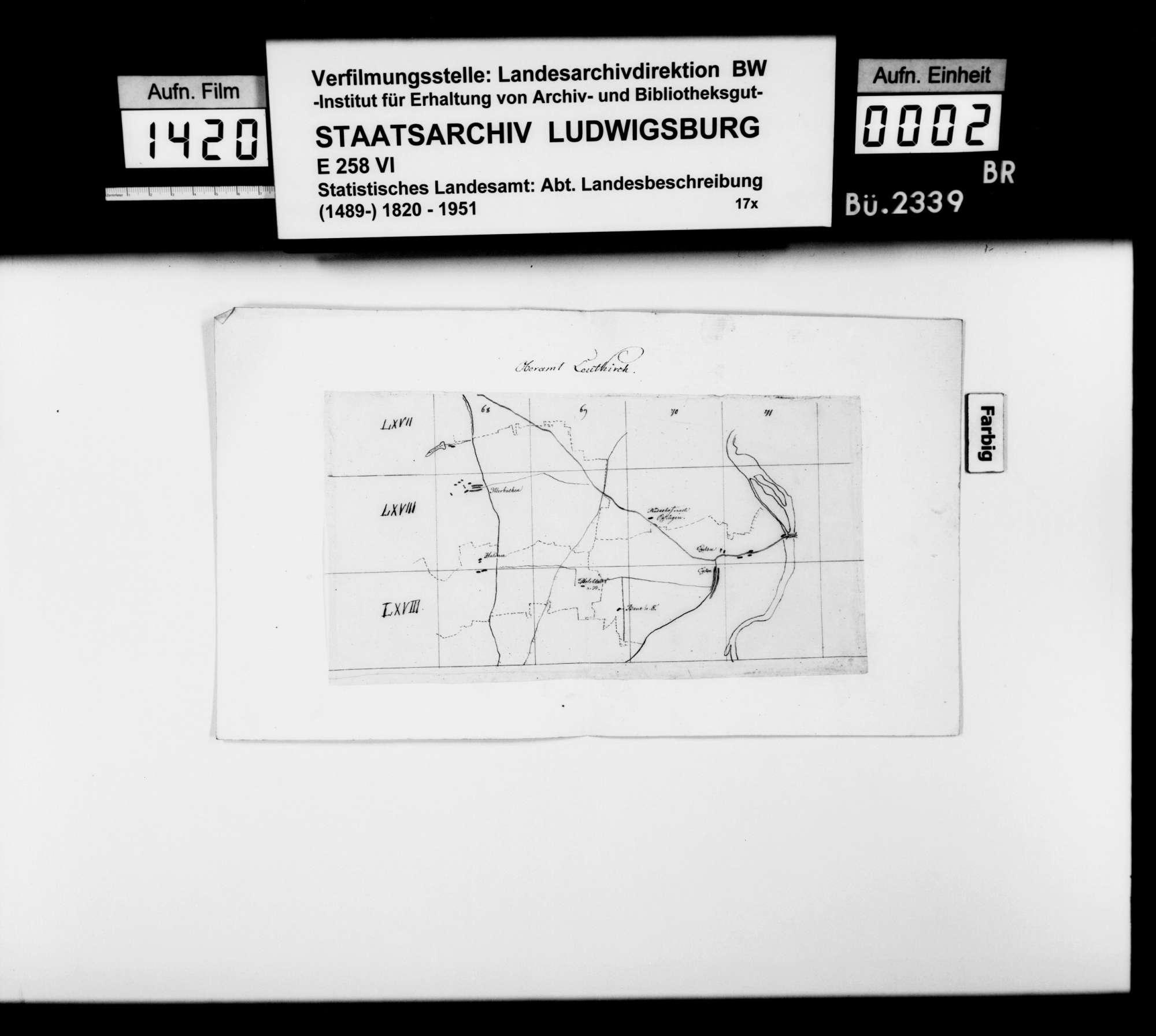 Revidierte Skizzen der Karten zum topographischen Atlas von Württemberg, betr. den Oberamtsbezirk Leutkirch, Bild 1