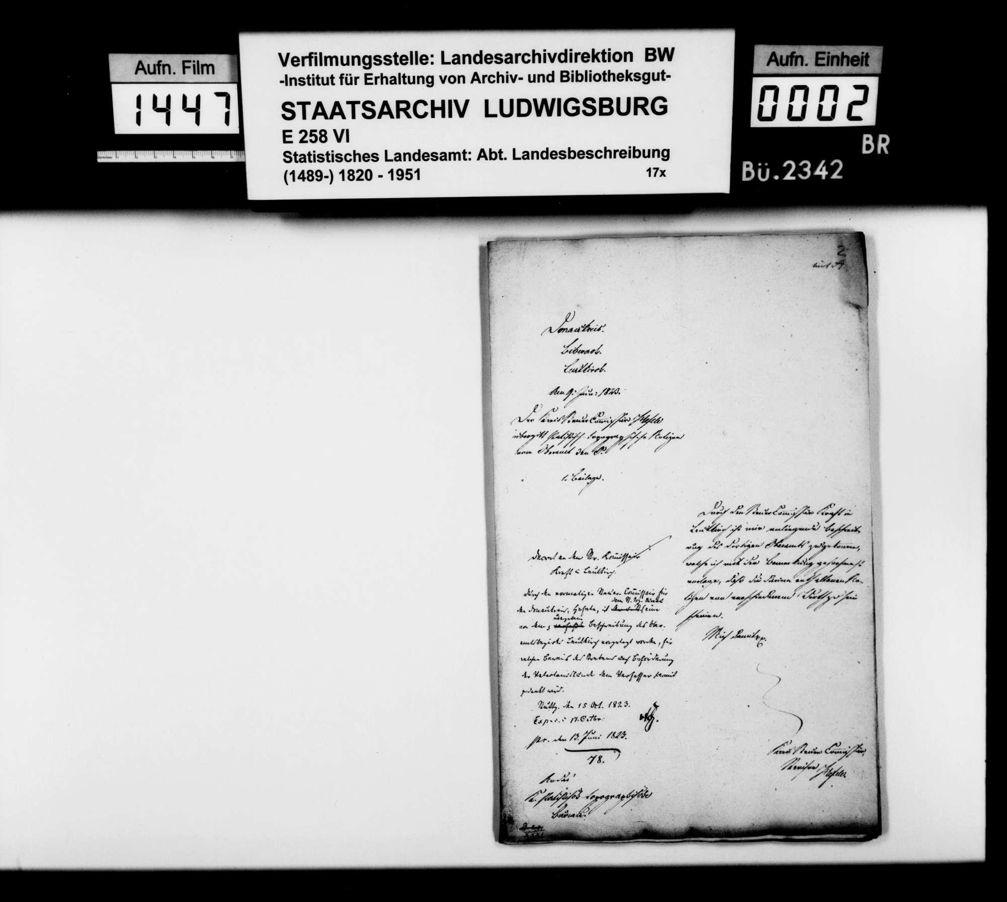 Beschreibung des Oberamts durch den Steuerkommissär Kraft aus Leutkirch, Bild 1