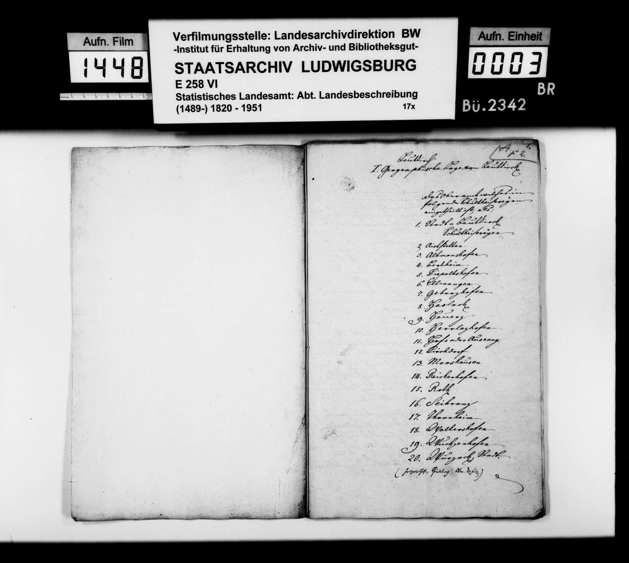 Beschreibung des Oberamts durch den Steuerkommissär Kraft aus Leutkirch, Bild 2