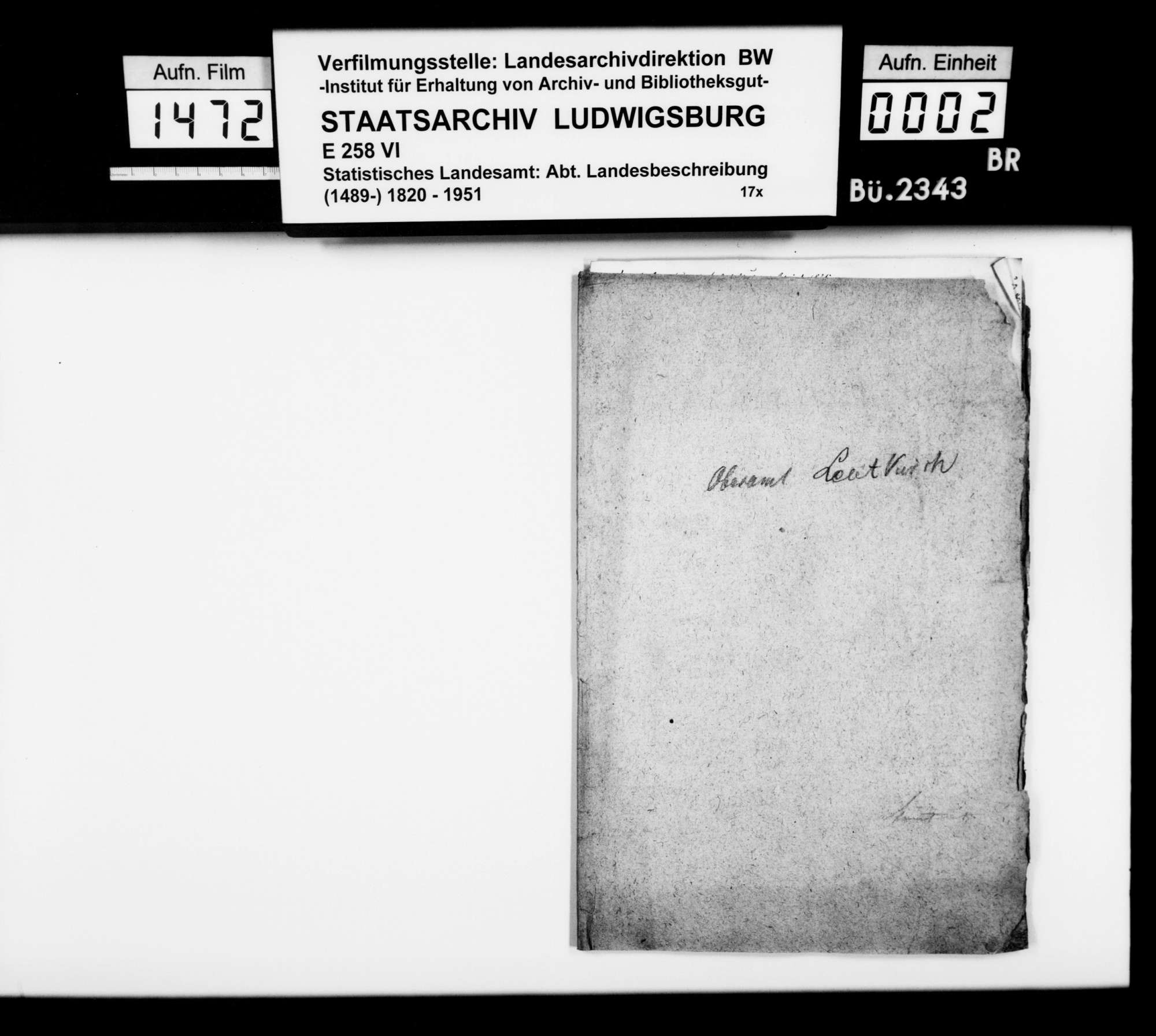 Mitteilungen des Trigonometers Diezel zur Beschreibung des Oberamts, notiert 1825 bei der trigonometrischen Aufnahme, Bild 1