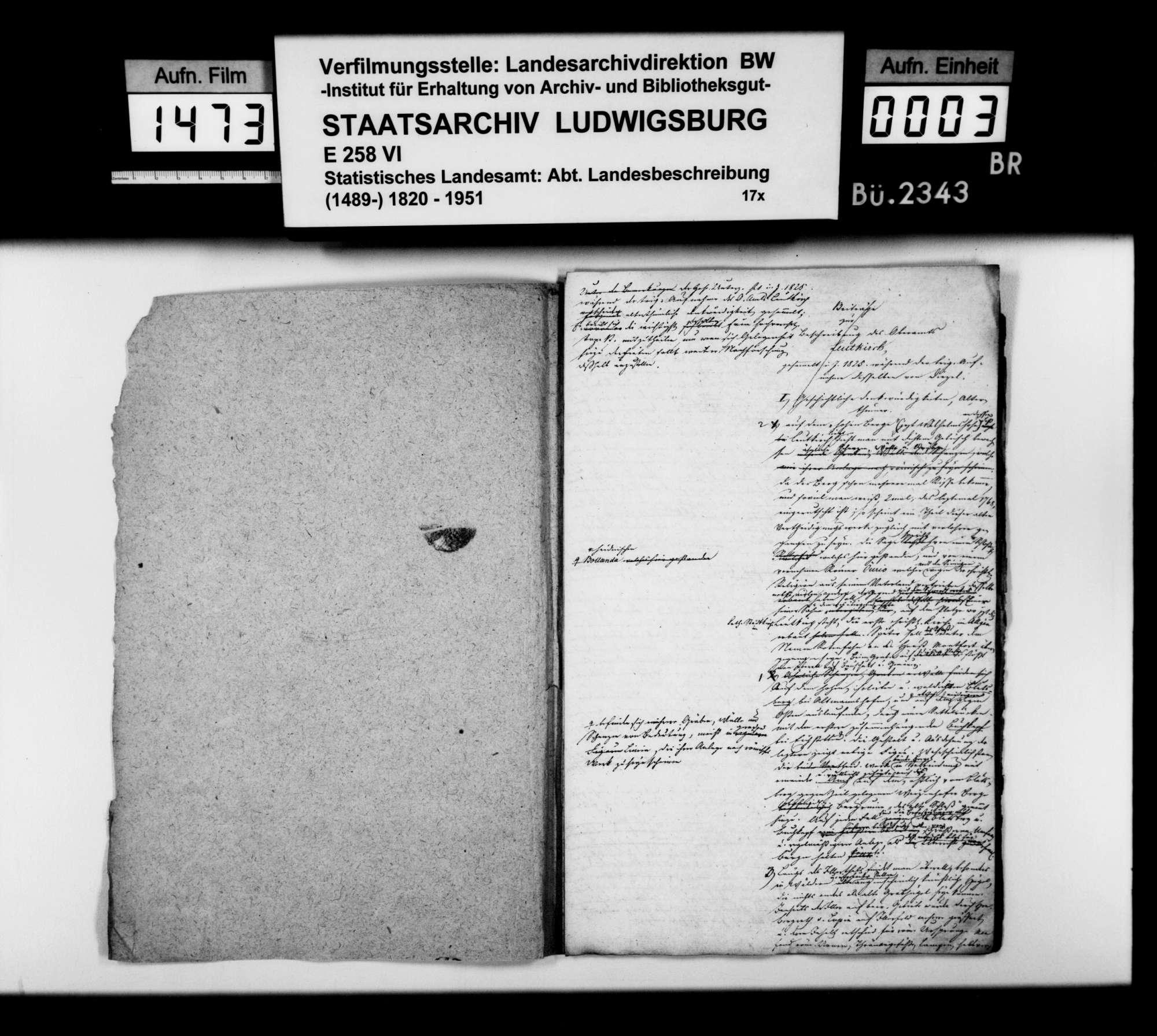 Mitteilungen des Trigonometers Diezel zur Beschreibung des Oberamts, notiert 1825 bei der trigonometrischen Aufnahme, Bild 2