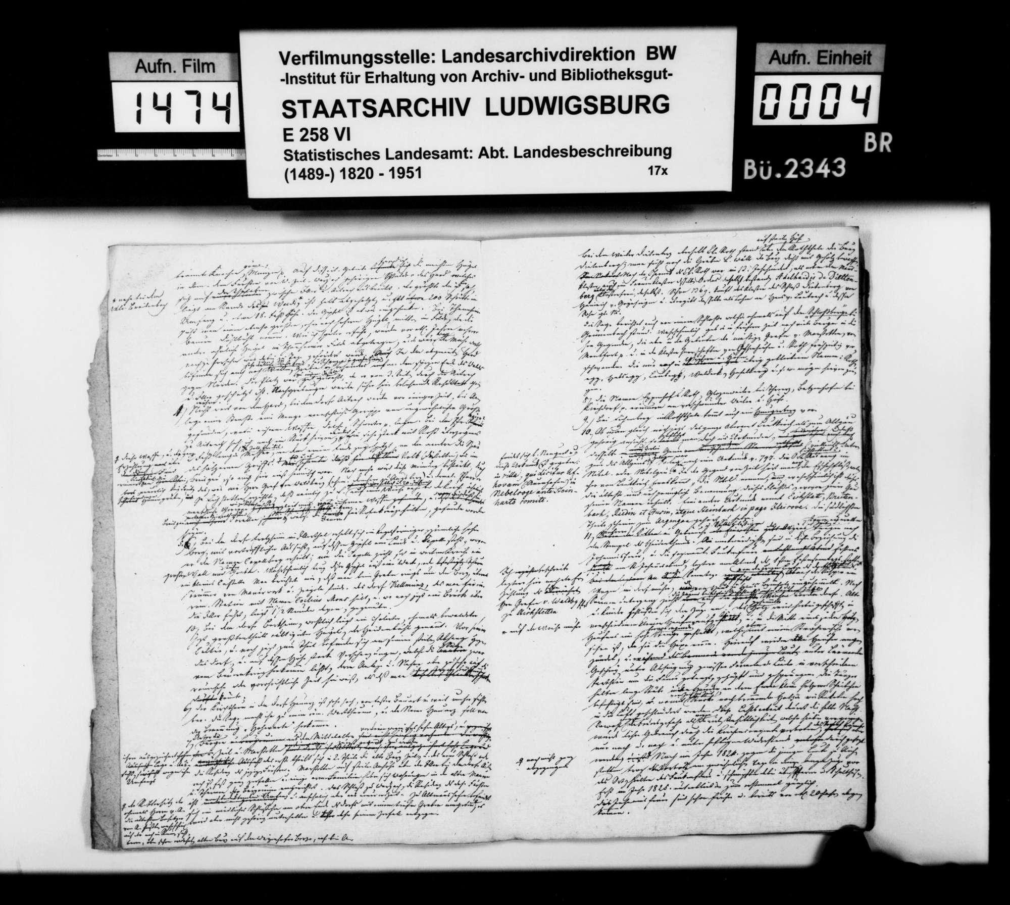Mitteilungen des Trigonometers Diezel zur Beschreibung des Oberamts, notiert 1825 bei der trigonometrischen Aufnahme, Bild 3
