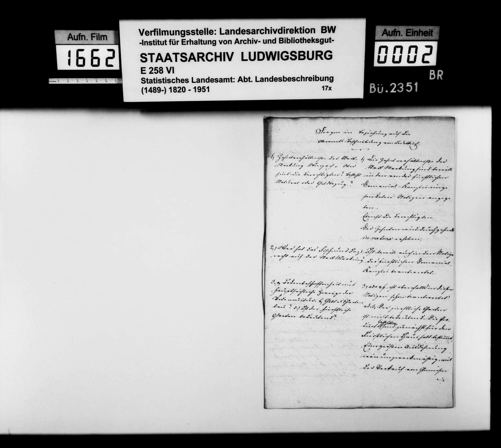 Notizen des Verwaltungsaktuars Völmle [aus Wurzach] auf Fragen des STBs zur Ergänzung der OAB, Bild 1