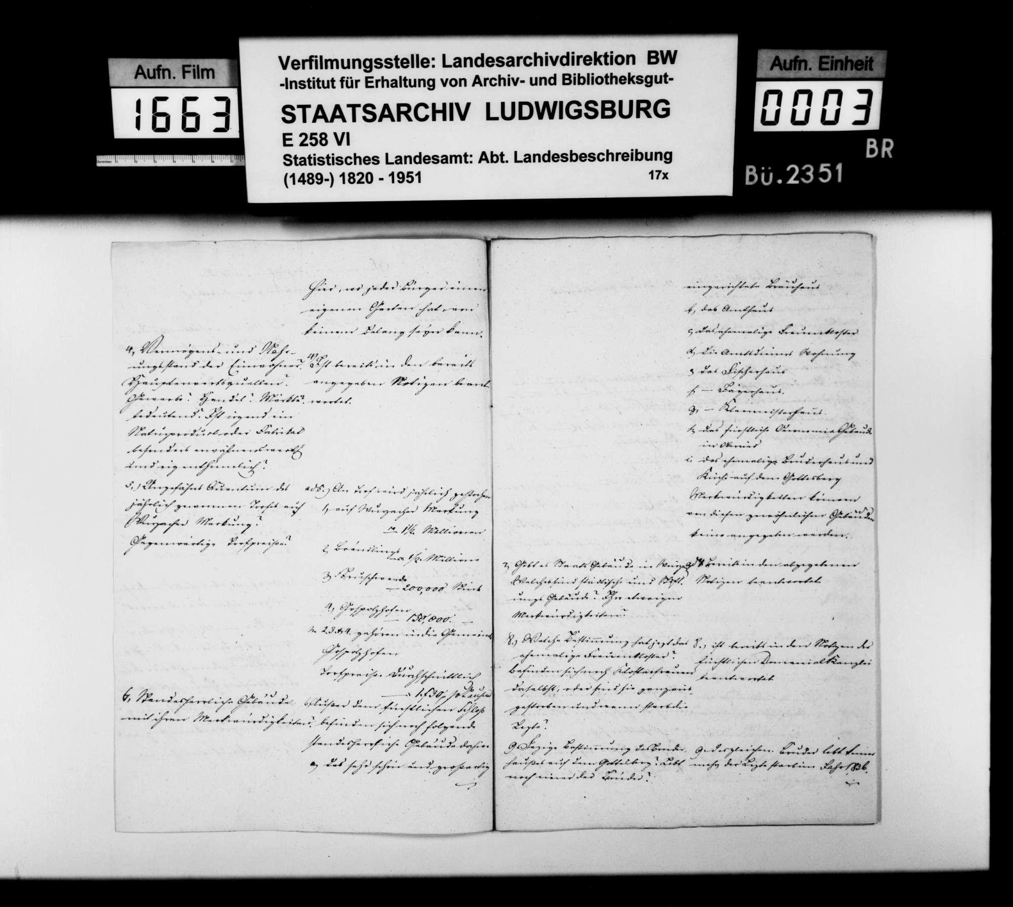 Notizen des Verwaltungsaktuars Völmle [aus Wurzach] auf Fragen des STBs zur Ergänzung der OAB, Bild 2