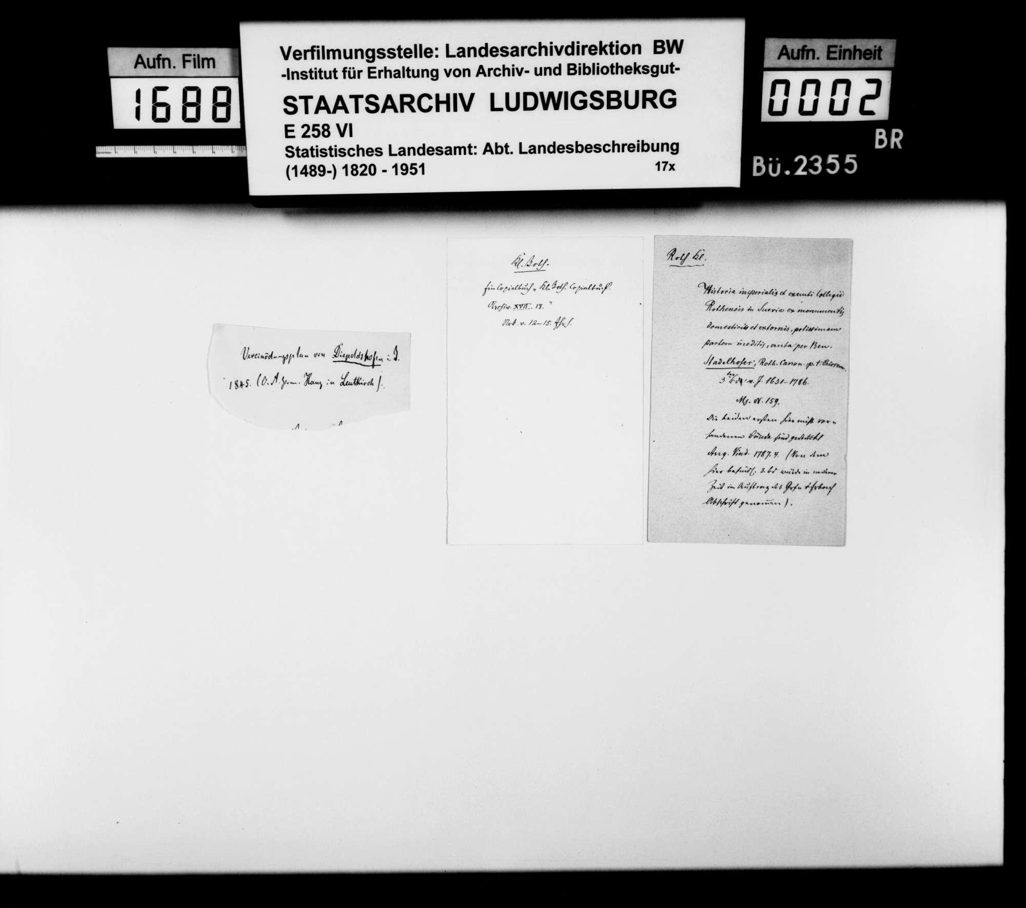 Materialsammlung vornehmlich historischen Inhalts für eine Neubearbeitung der OAB, Bild 1