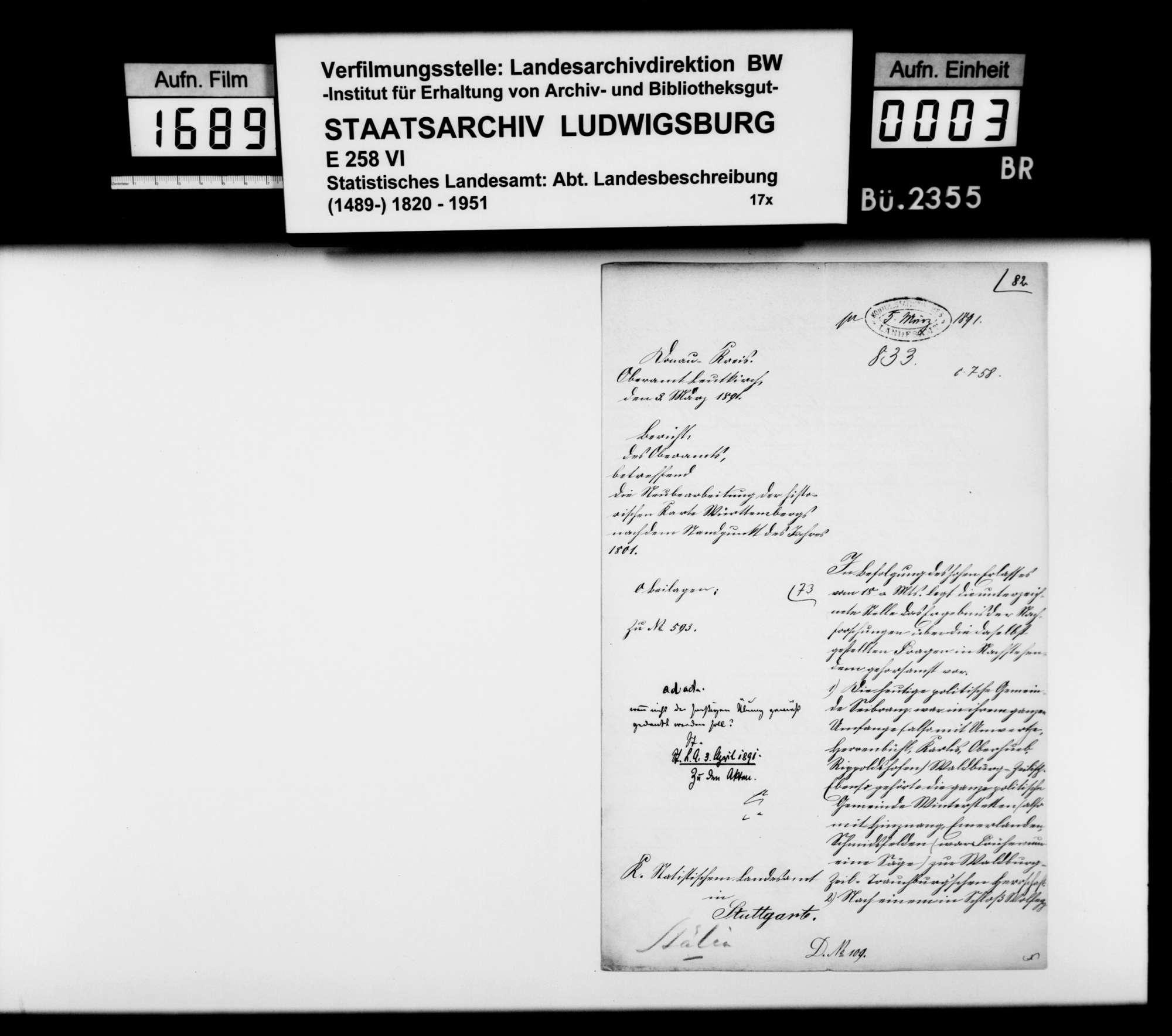 Materialsammlung vornehmlich historischen Inhalts für eine Neubearbeitung der OAB, Bild 2