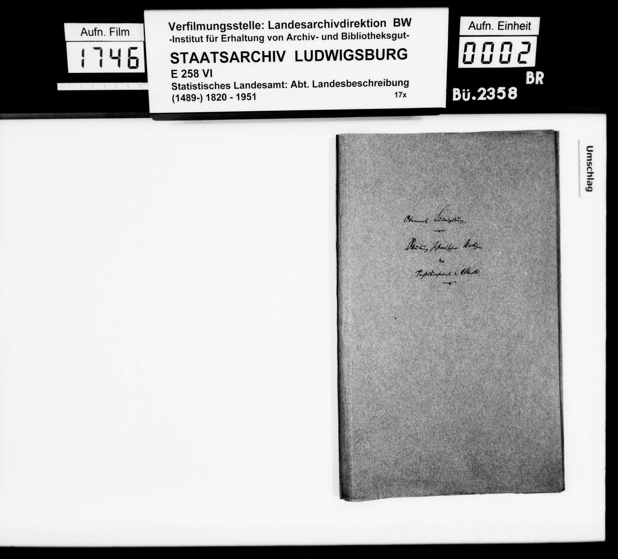 Kollektaneen des Rechtskonsulenten [Karl] von Alberti zur Besitzgeschichte, zum Adel, zu Schlössern, Burgen und Ruinen im Oberamt, Bild 1