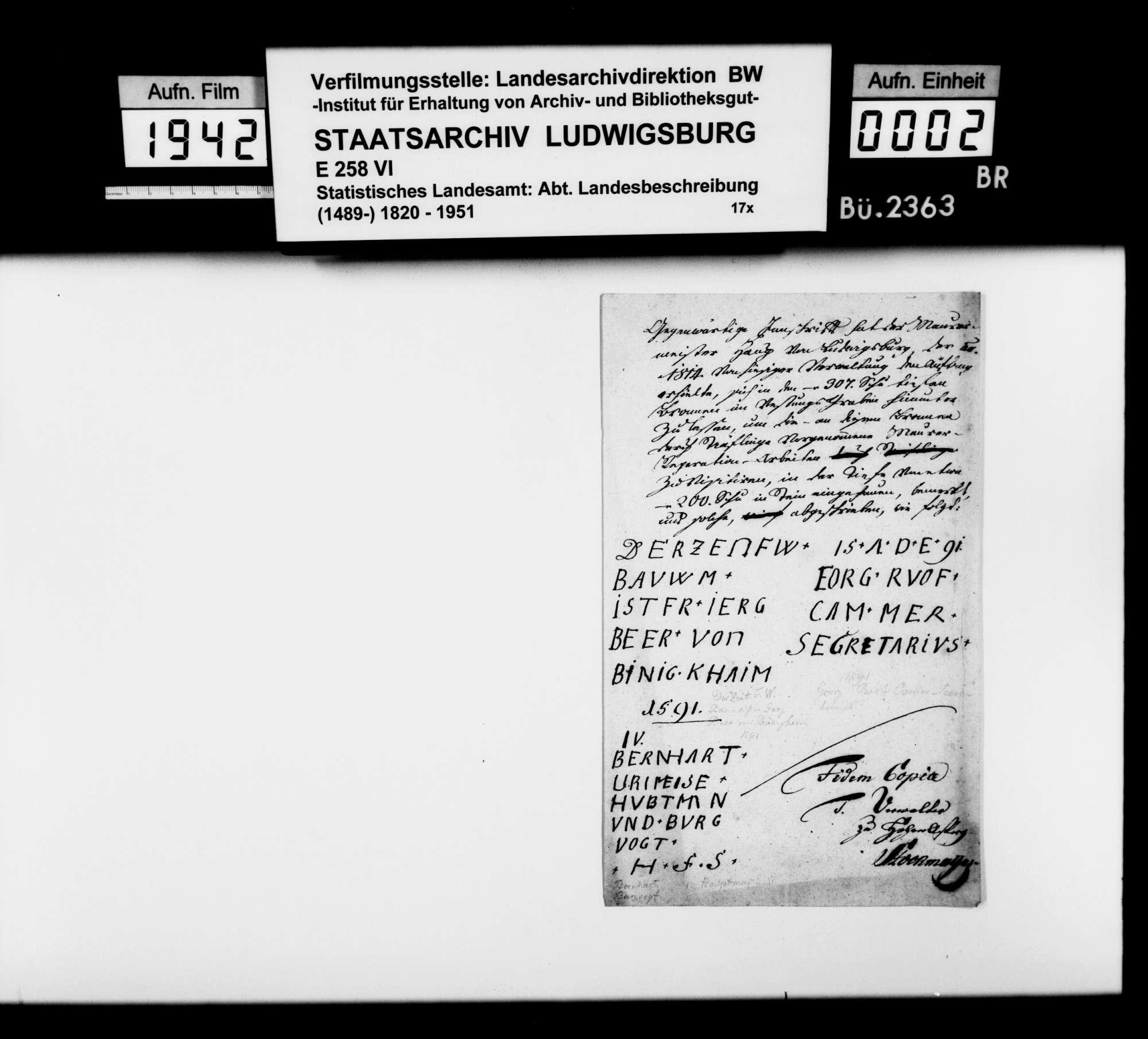 Diverse Notizen zur Geschichte im Oberamtsbezirk [v.a. von Landschaftsregistrator Schönleber], Bild 1