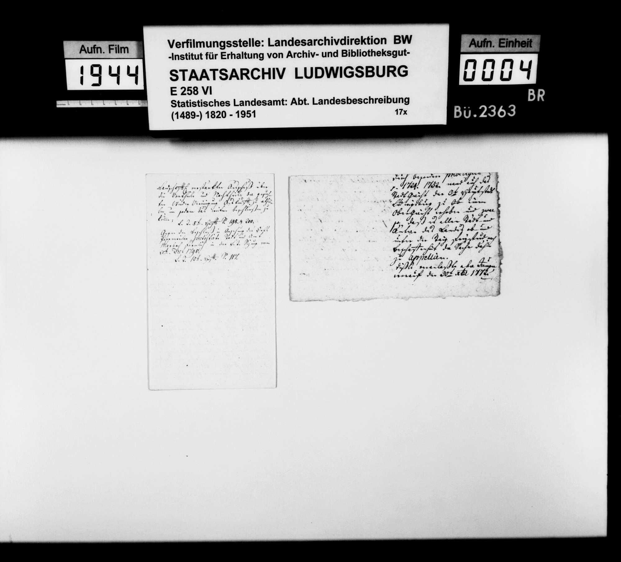 Diverse Notizen zur Geschichte im Oberamtsbezirk [v.a. von Landschaftsregistrator Schönleber], Bild 3