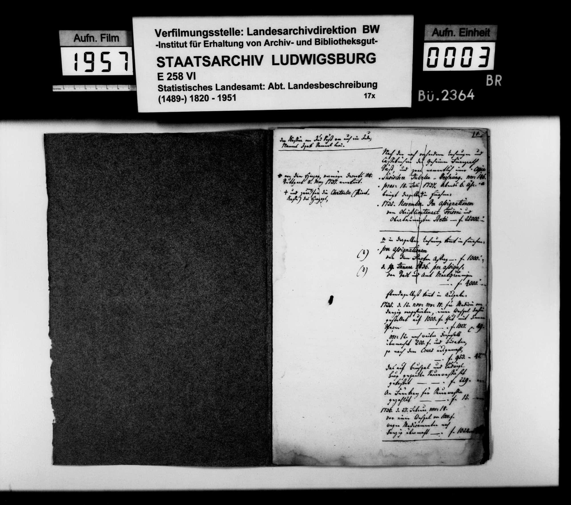 Exzerpte [des Landschaftsregistrators Schönleber] aus Rechnungen u.dgl. des Hoffaktors Josef Oppenheimer von 1736/37, Bild 2