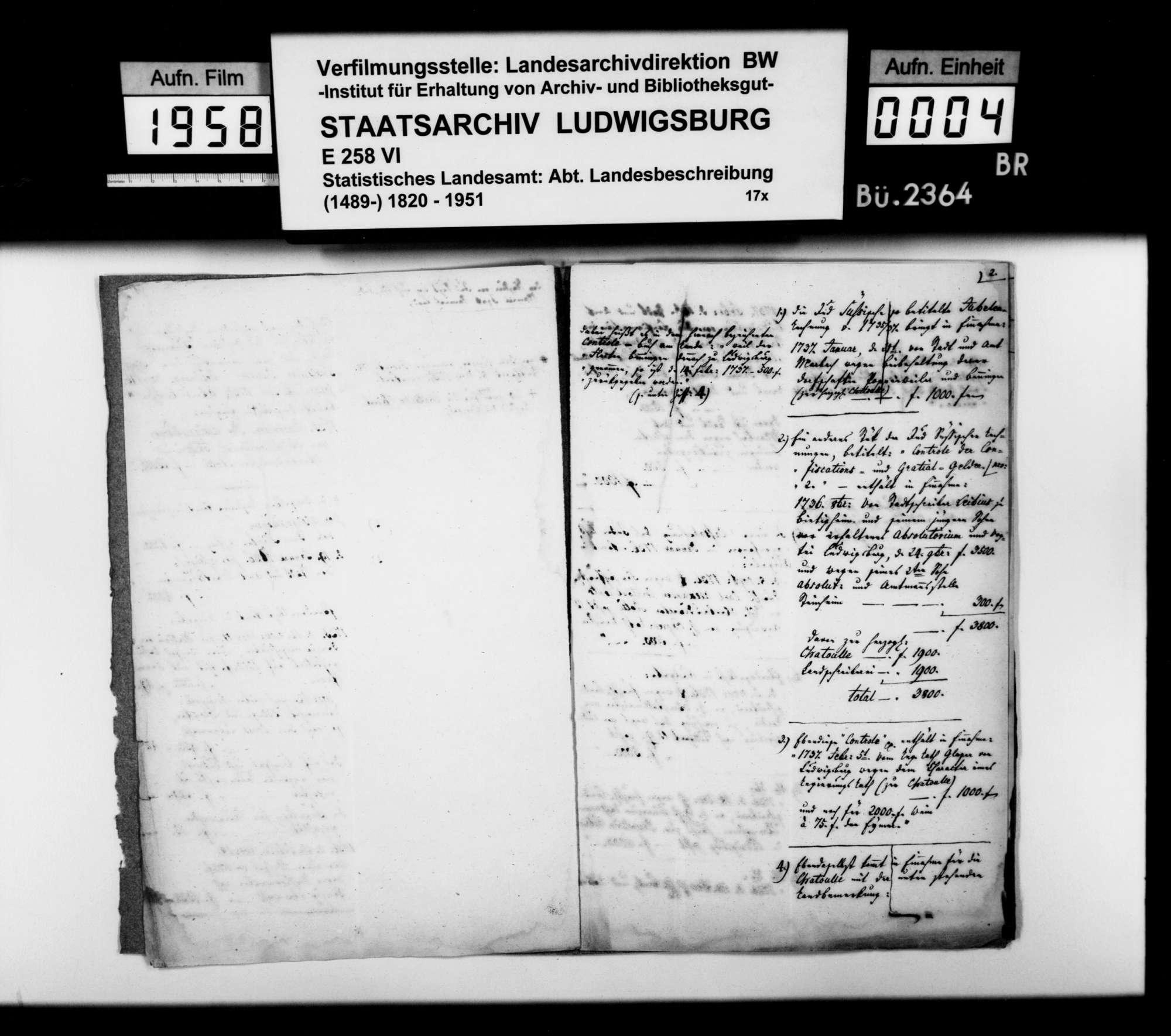 Exzerpte [des Landschaftsregistrators Schönleber] aus Rechnungen u.dgl. des Hoffaktors Josef Oppenheimer von 1736/37, Bild 3