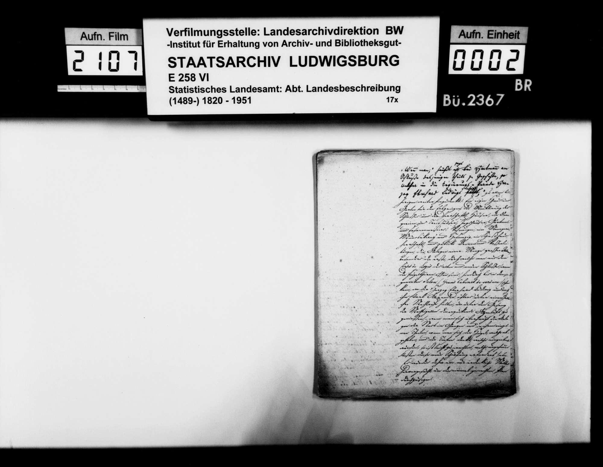 Notizen und Manuskripte [des Landschaftsregistrators Schönleber] zur Geschichte von Ludwigsburg und Umgebung im 18. Jh. [v.a. aus Primärquellen], Bild 1