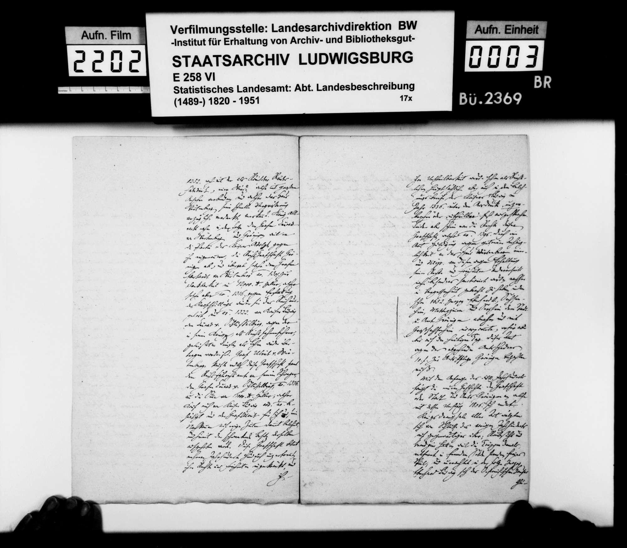 Auszug aus einer Denkschrift zur Geschichte von Stadt und Amt Markgröningen, o.Verf., o.Dat., Bild 2