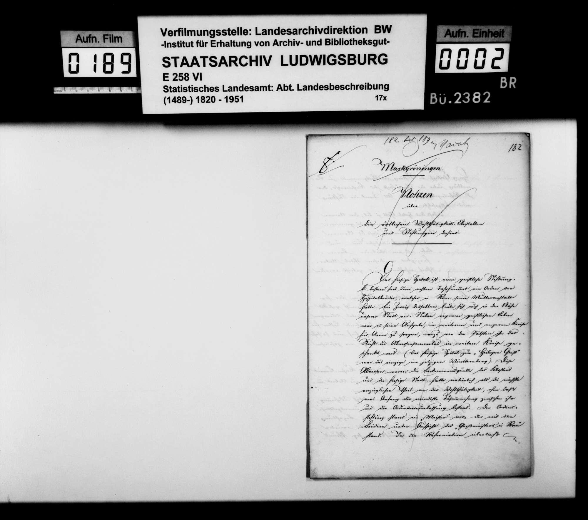 Bericht des Hospitalverwalters [Ludwig Friedrich Blum] aus Markgröningen über das Spital und die -stiftung v.a. im 19. Jh., Bild 1