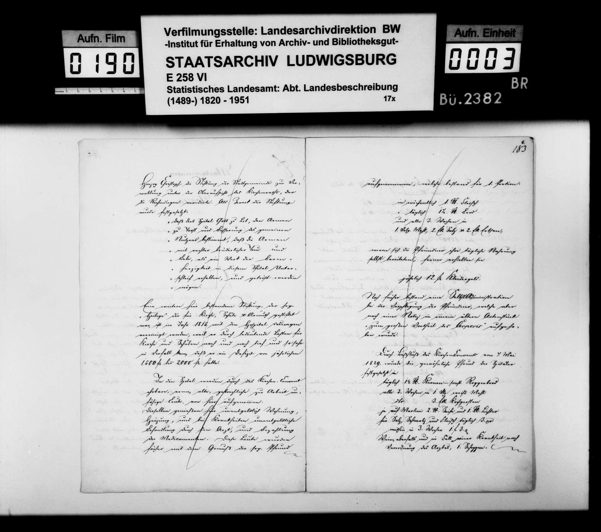 Bericht des Hospitalverwalters [Ludwig Friedrich Blum] aus Markgröningen über das Spital und die -stiftung v.a. im 19. Jh., Bild 2